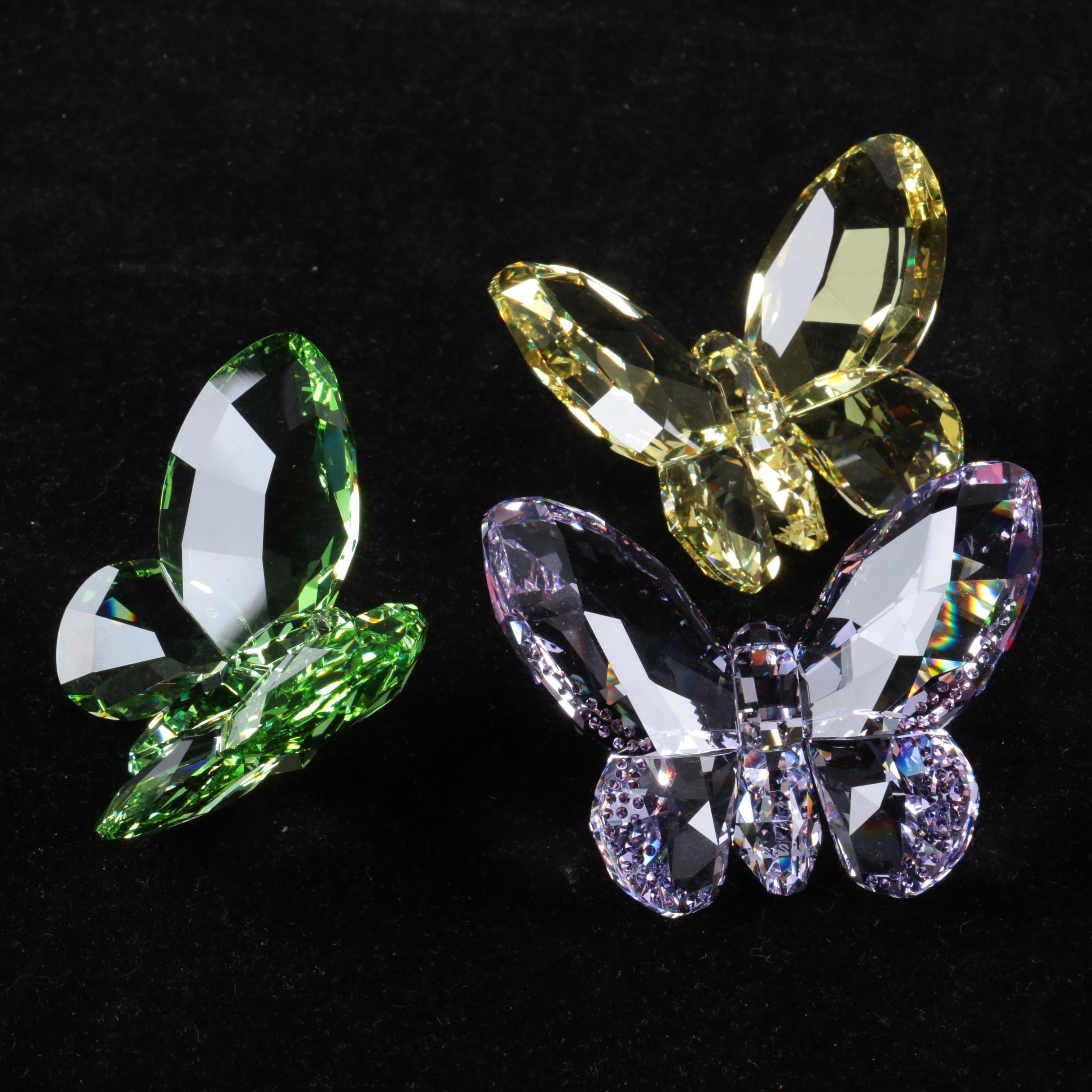 Swarovski Citrine, Amethyst, and Peridot Crystal Butterfly Figurines