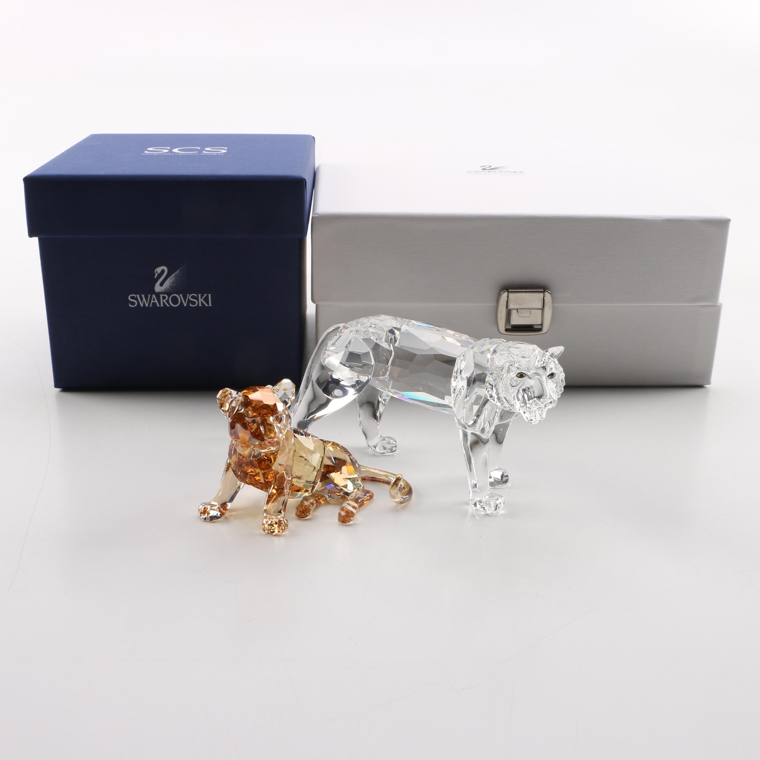 Swarovski Crystal Tiger and Cub Figurines