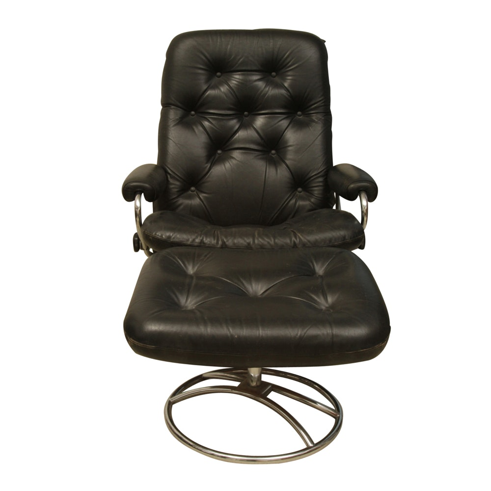 Scandinavian Black Leather Reclining Swivel Chair And Ottoman ...