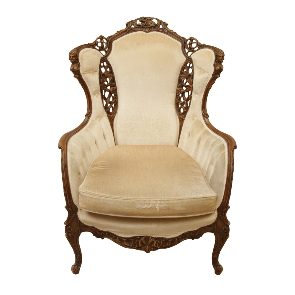 1930s Arm Chair with Carved Busts