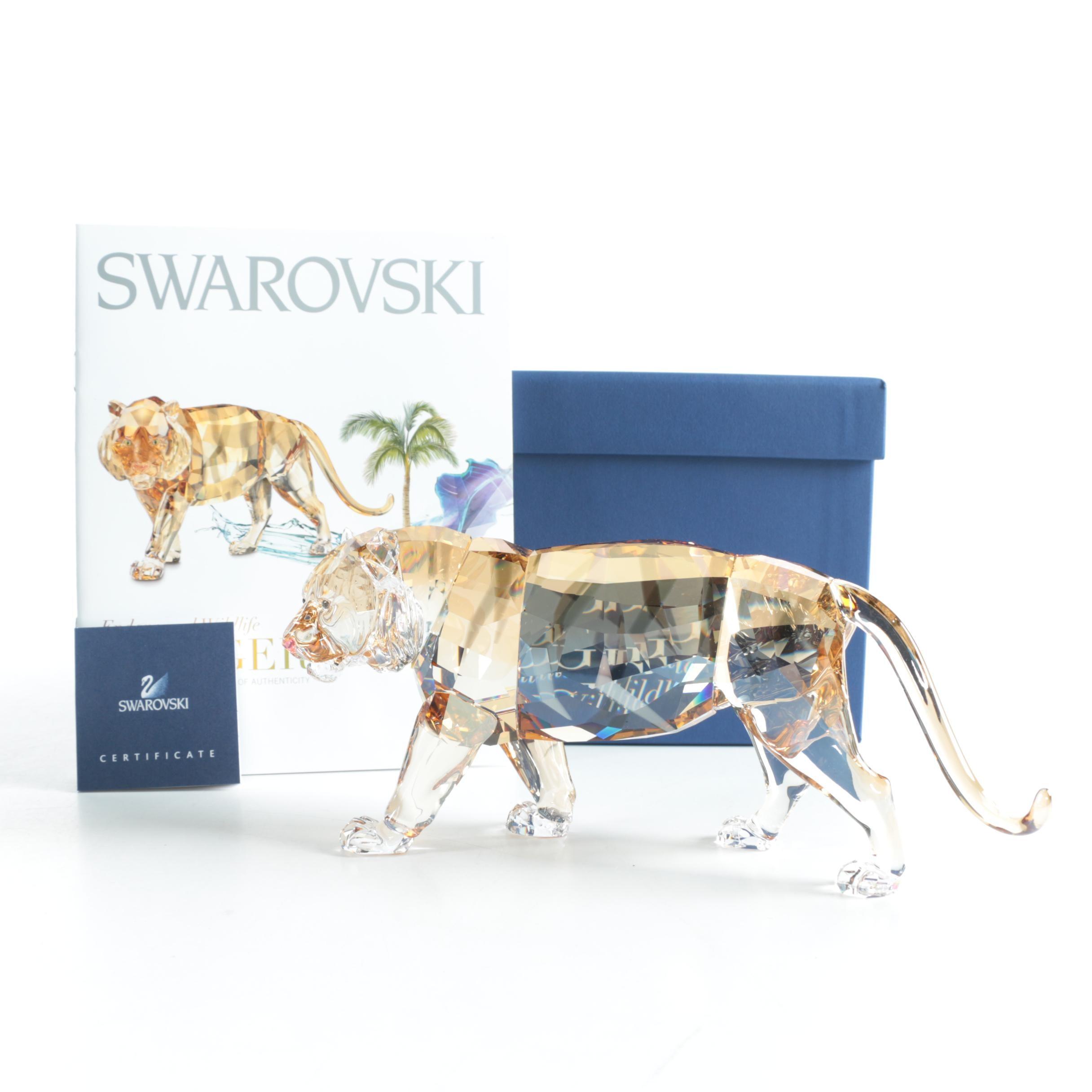 "Swarovski ""Endangered Wildlife"" Orange Crystal Tiger Figurine"