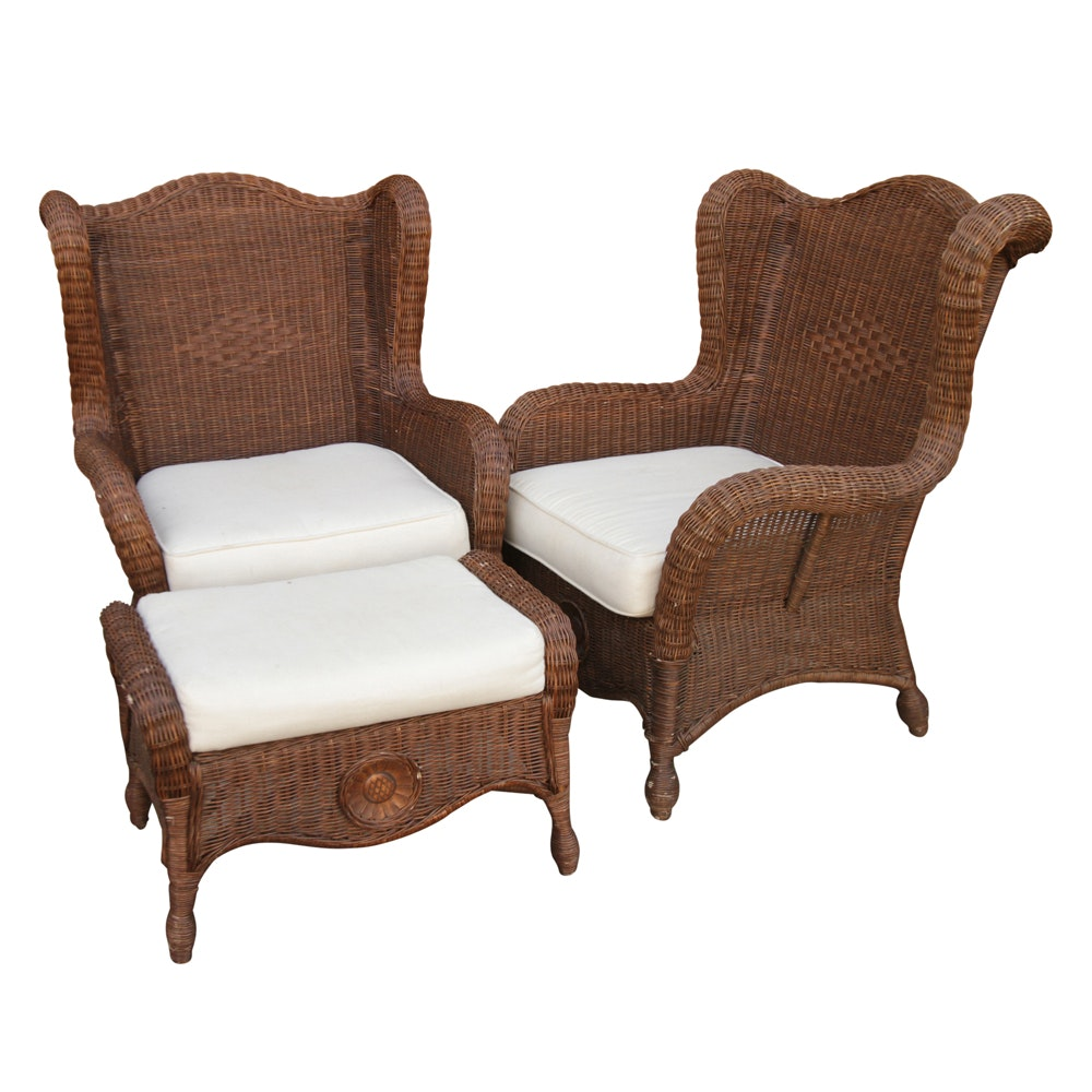Pier 1 Imports Wicker Chairs and Ottoman