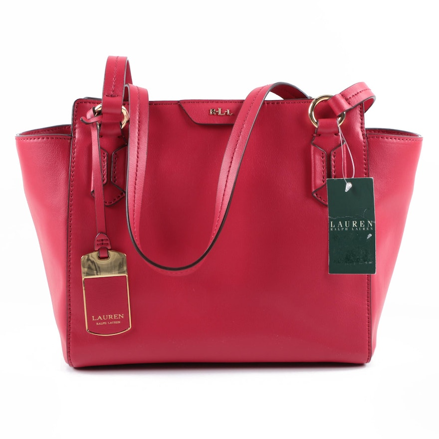 4ebbc43e8094 Lauren Ralph Lauren Red Leather Tote   EBTH