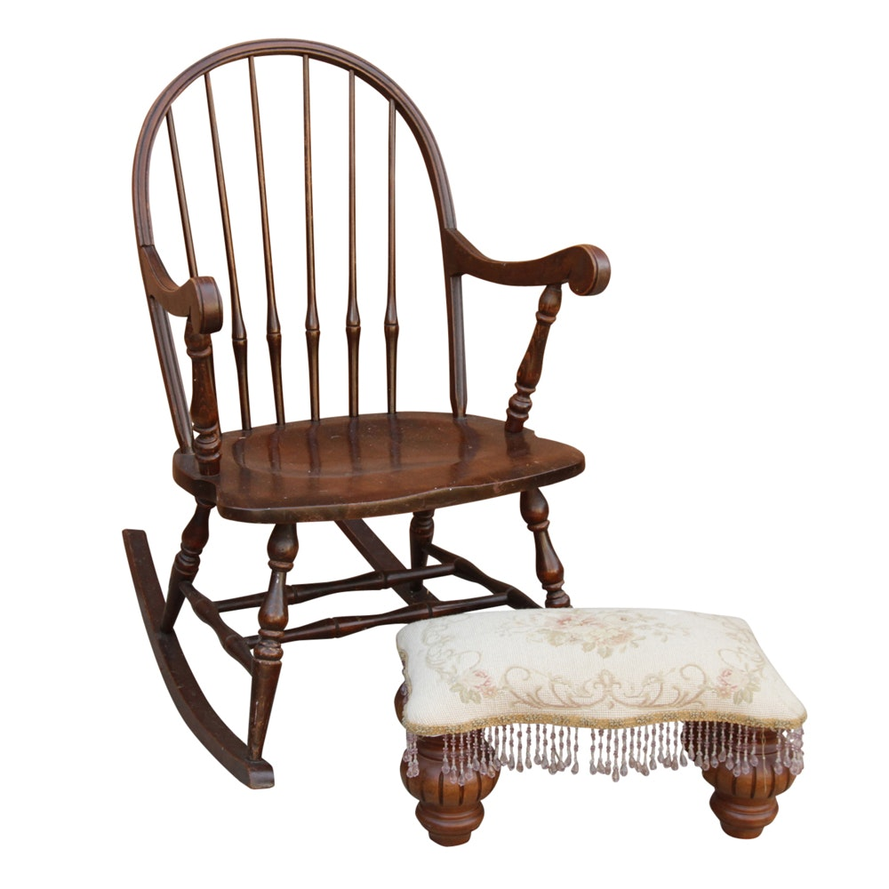 Vintage Windsor Style Rocking Chair and Fringed Ottoman