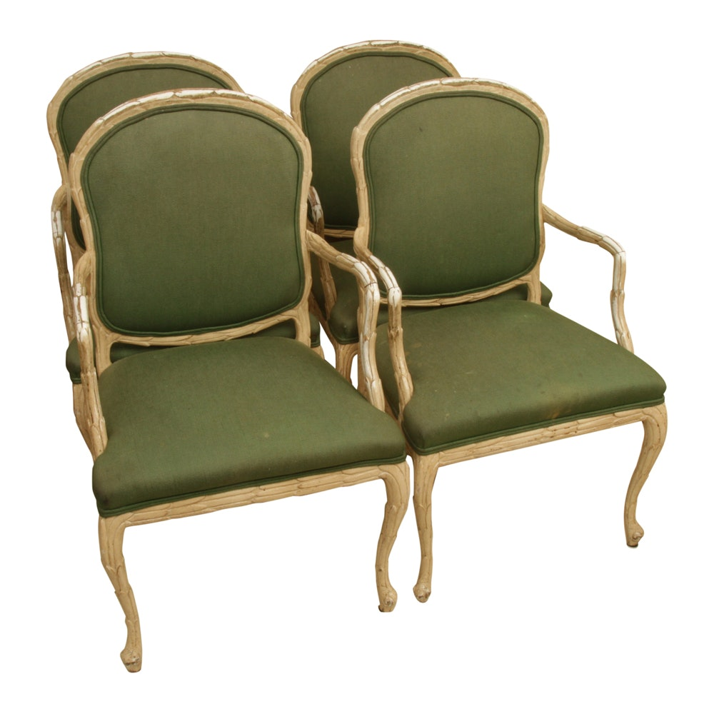 Set of French Style Upholstered Dining Chairs by Century Furniture