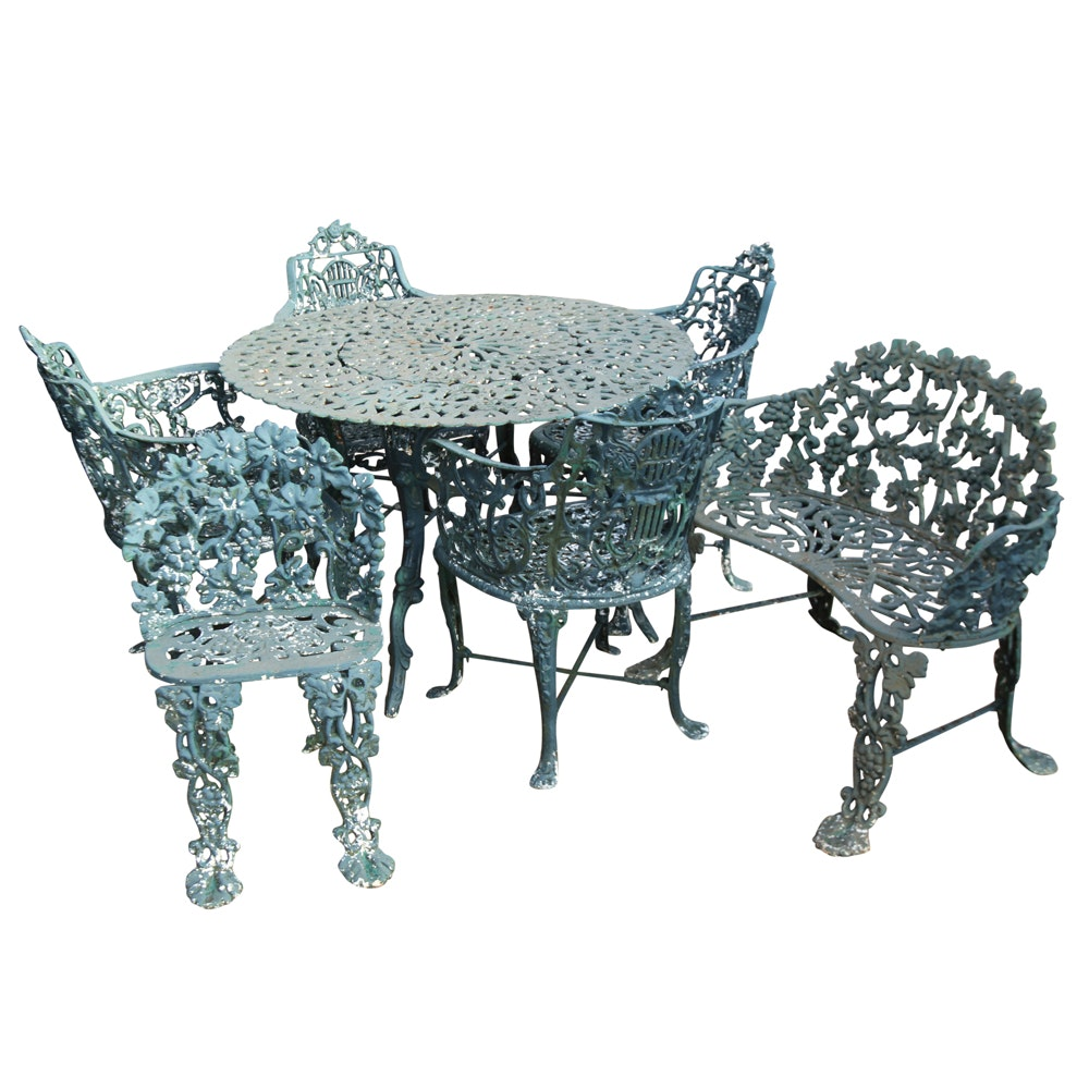 Seven Piece Victorian Style Iron Patio Set