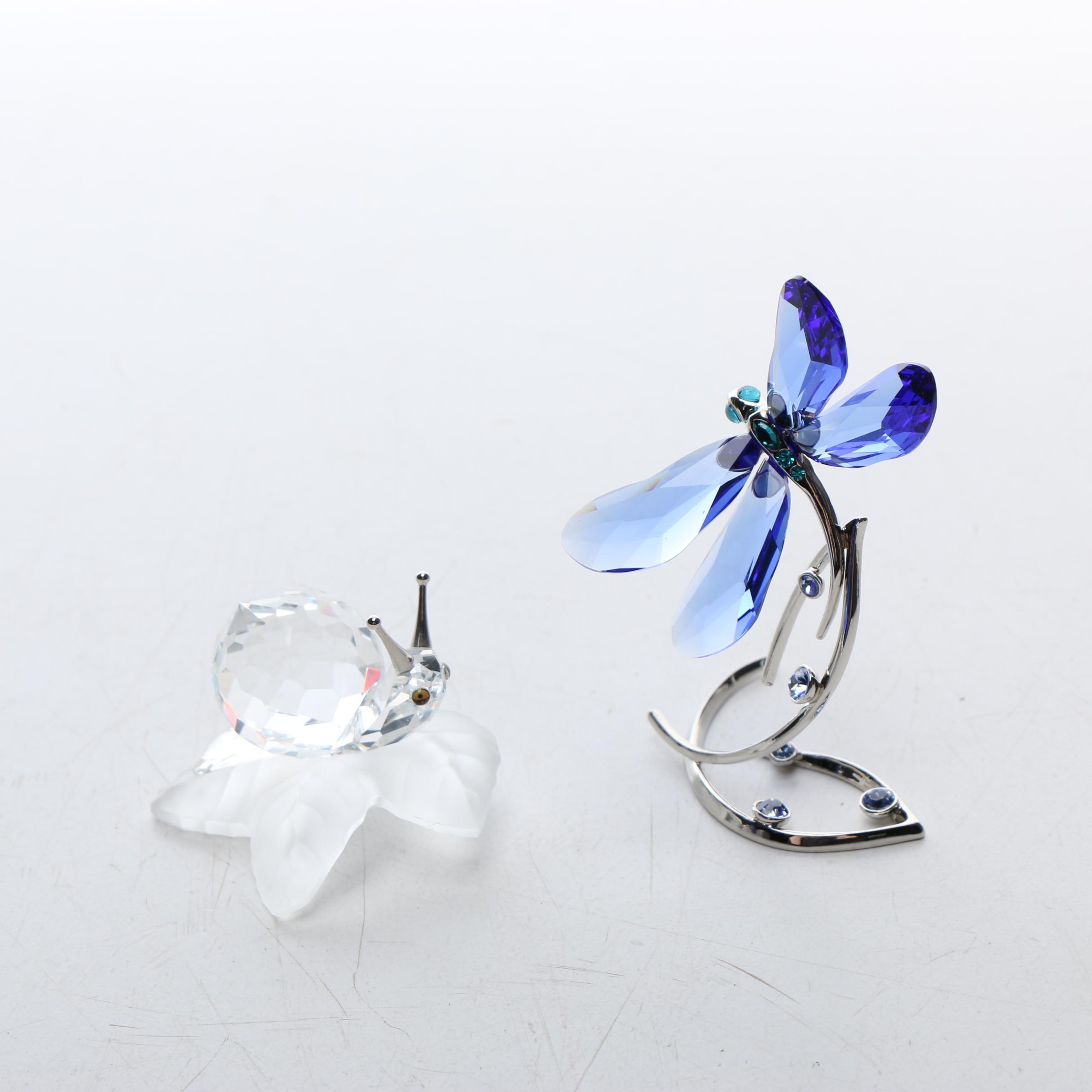 Swarovski Crystal Snail and Dragonfly Figurine