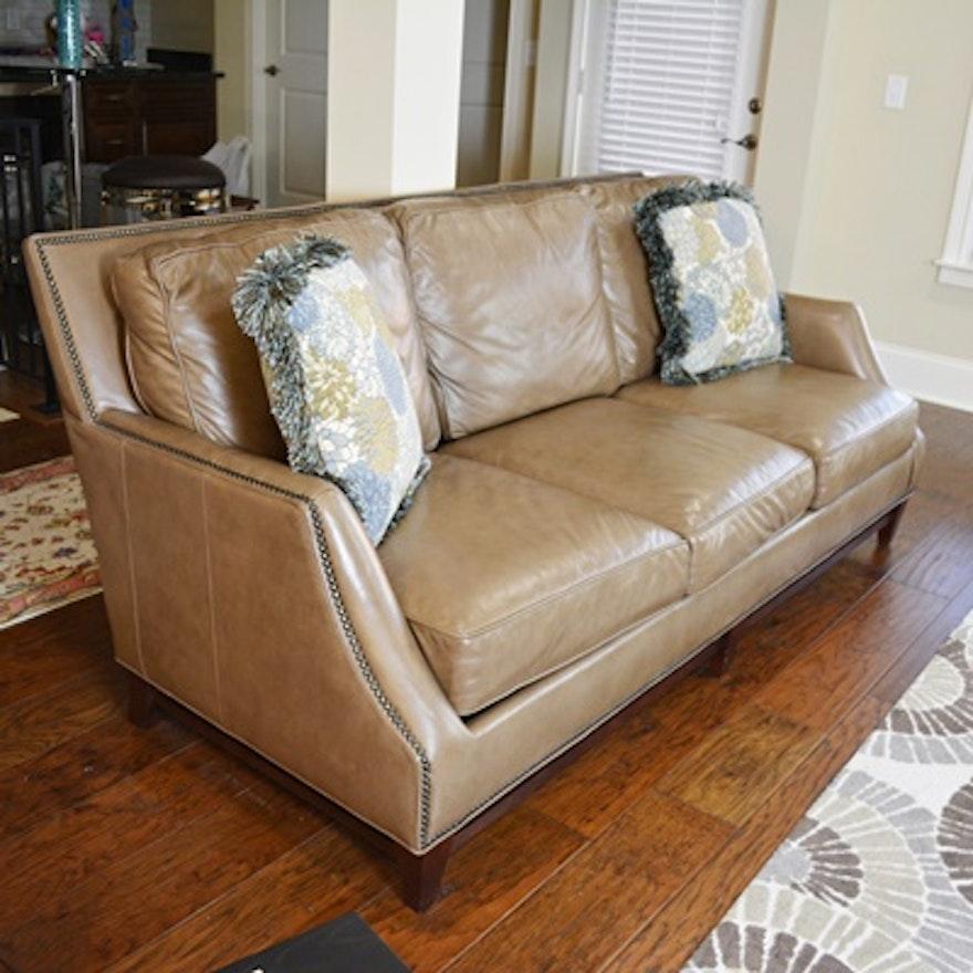 Bradington Young Madingan Taupe Leather Sofa