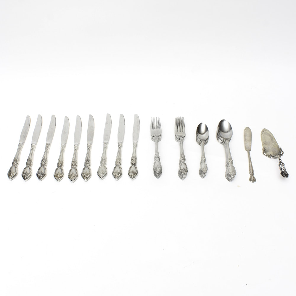 Swedish 830 Silver Cake Server and Assorted Flatware