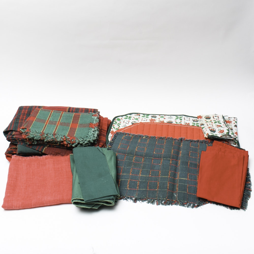Collection of Red and Green Placemats and Napkins