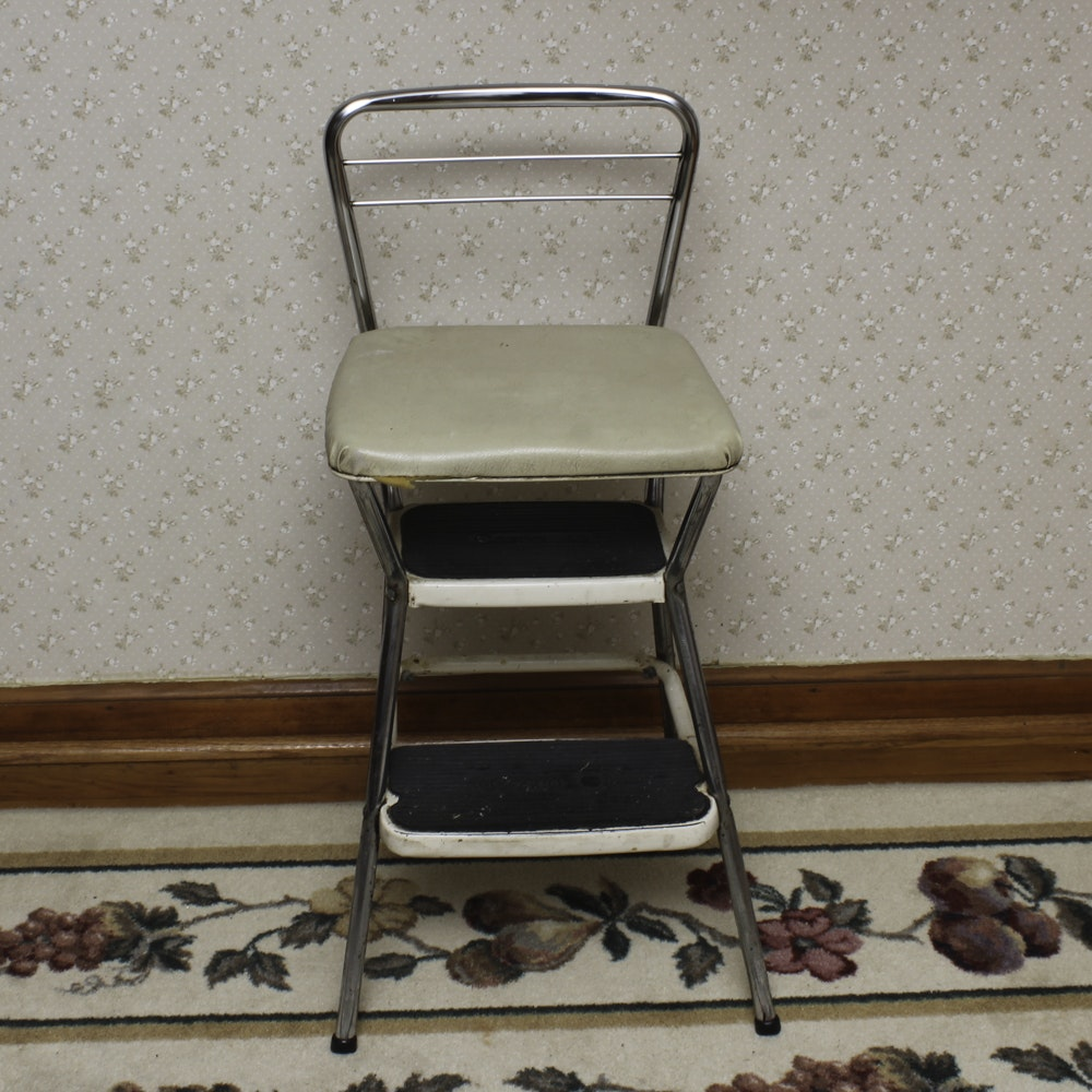 Vintage Metal Step Stool Chair Folding Kitchen Step Stool