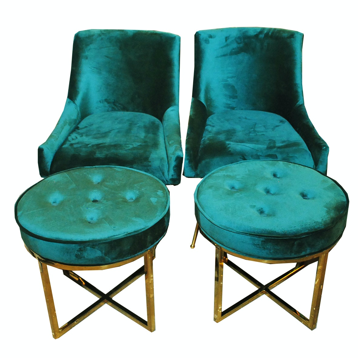Pair Of Emerald Green Faux Velvet Chairs With Ottomans ...
