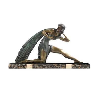 """Bronze Sculpture """"Femme au Draperie"""" after a model by Demétre Haralamb Chiparus"""