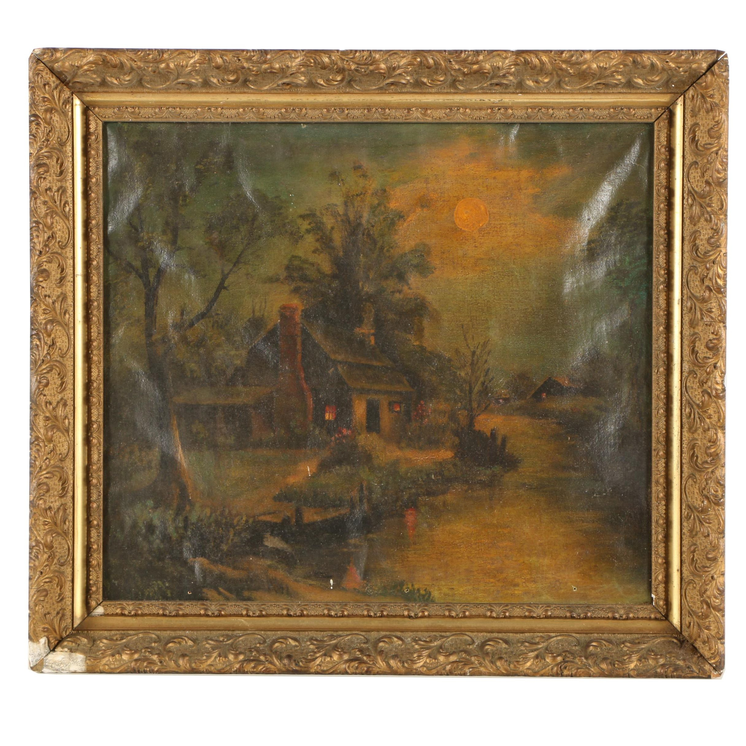 Antique Oil Painting of Cottage Scene