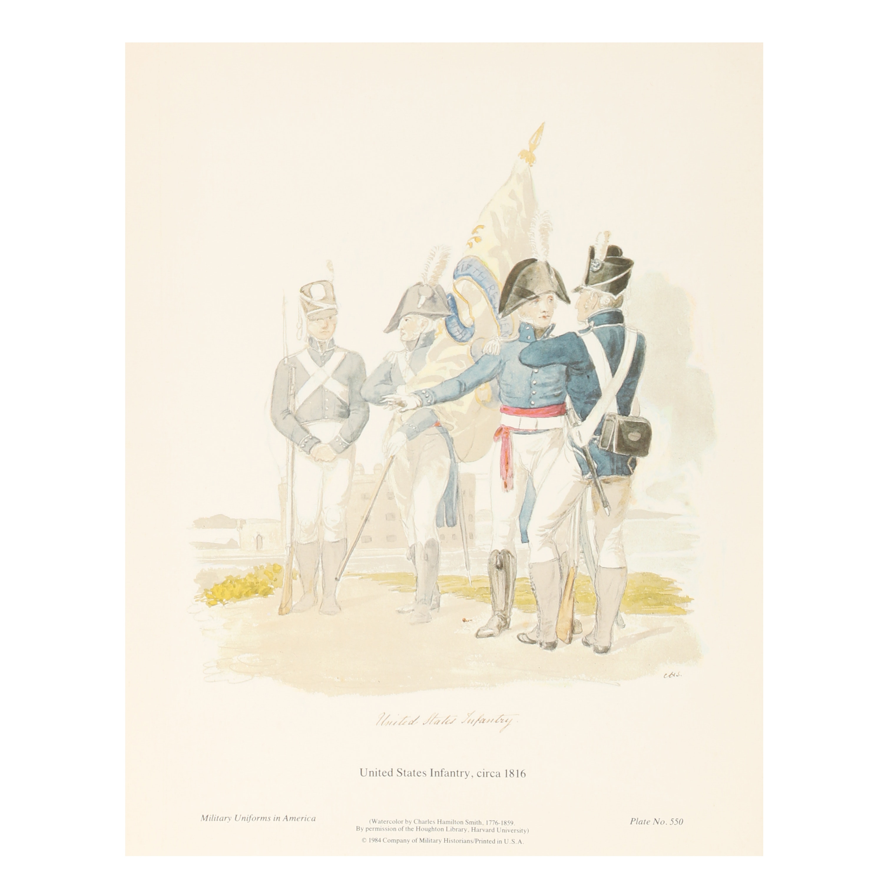 """Offset Lithograph """"United States Infantry"""" After Charles Hamilton Smith"""