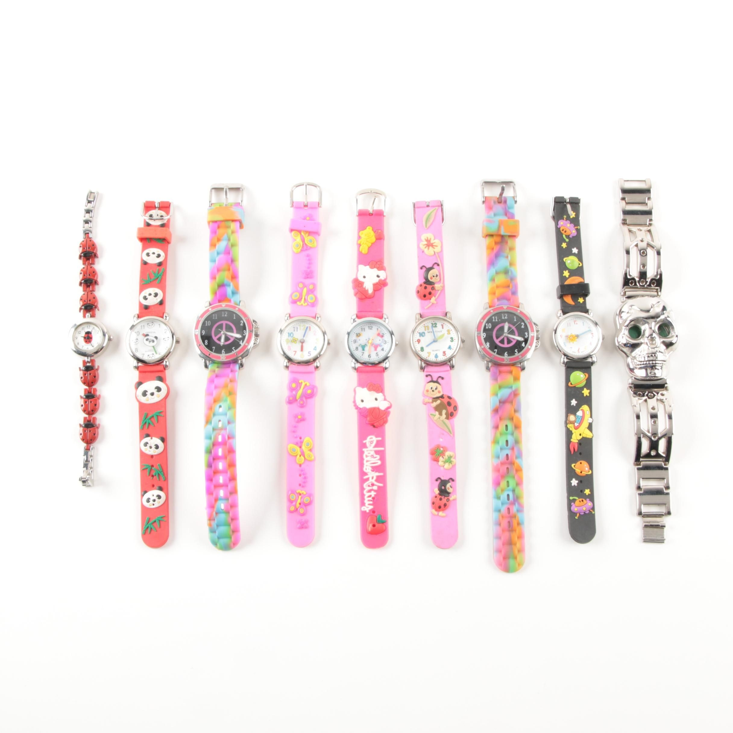 Themed Wristwatches Including Hello Kitty, Lady Bugs, and Peace Signs