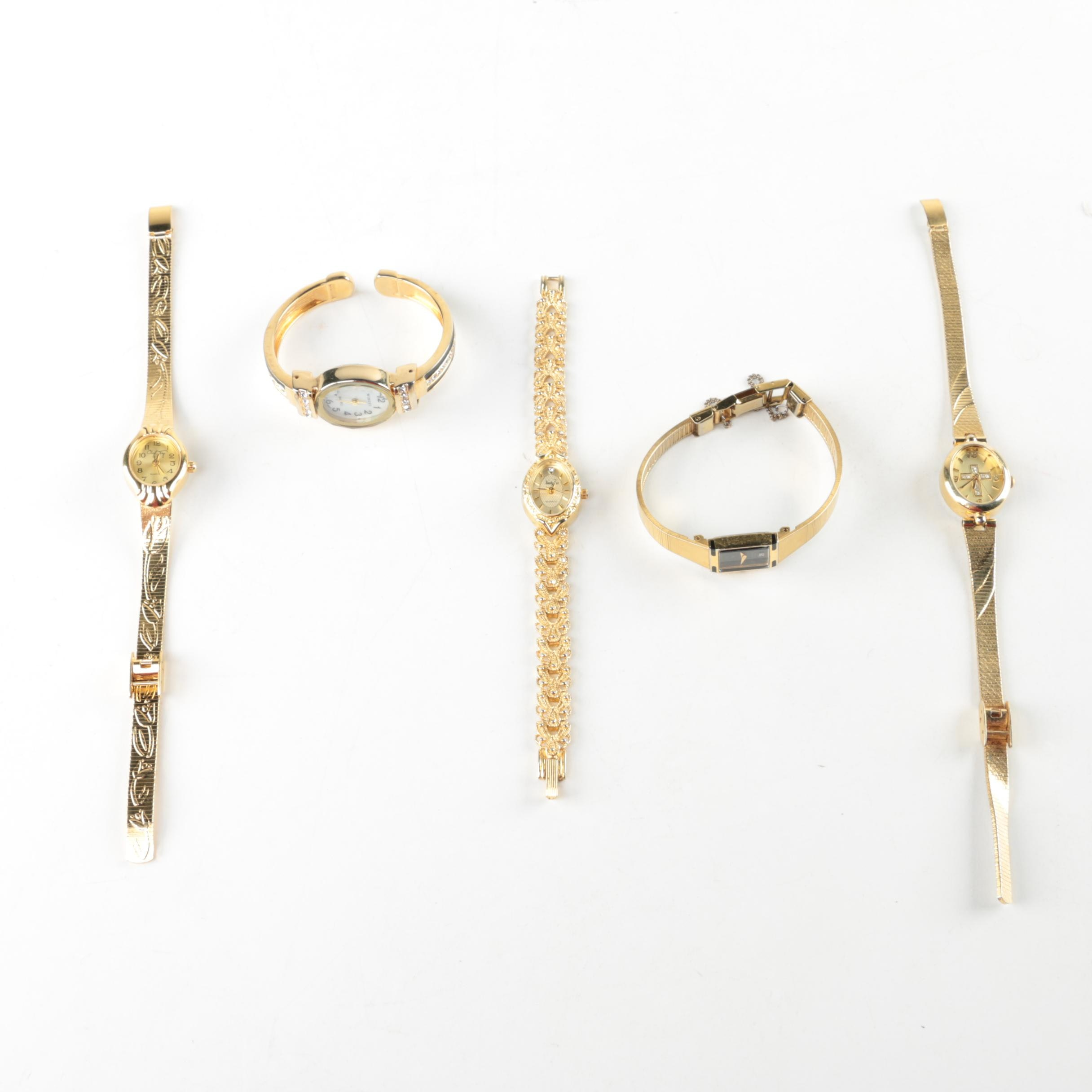 Gold Tone Wristwatch Selection Featuring Citizen and Vanity Fair