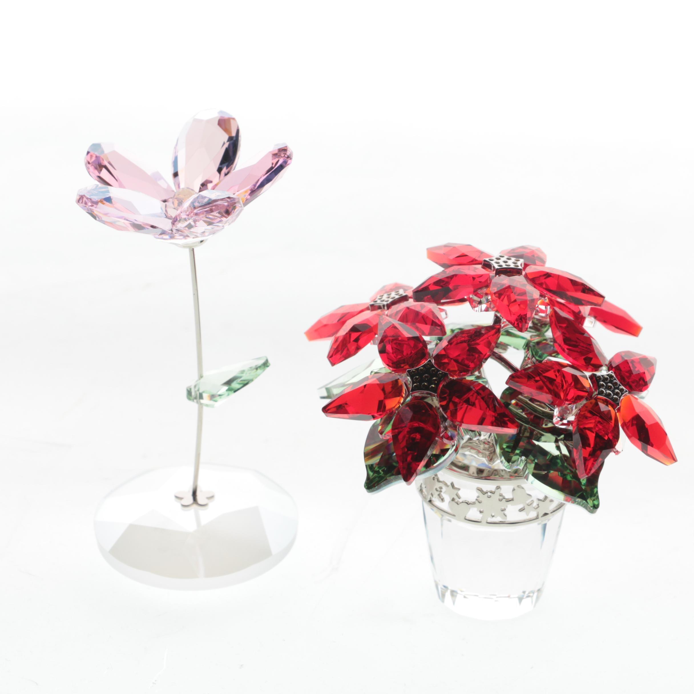 Swarovski Crystal Flower and Pointsettia