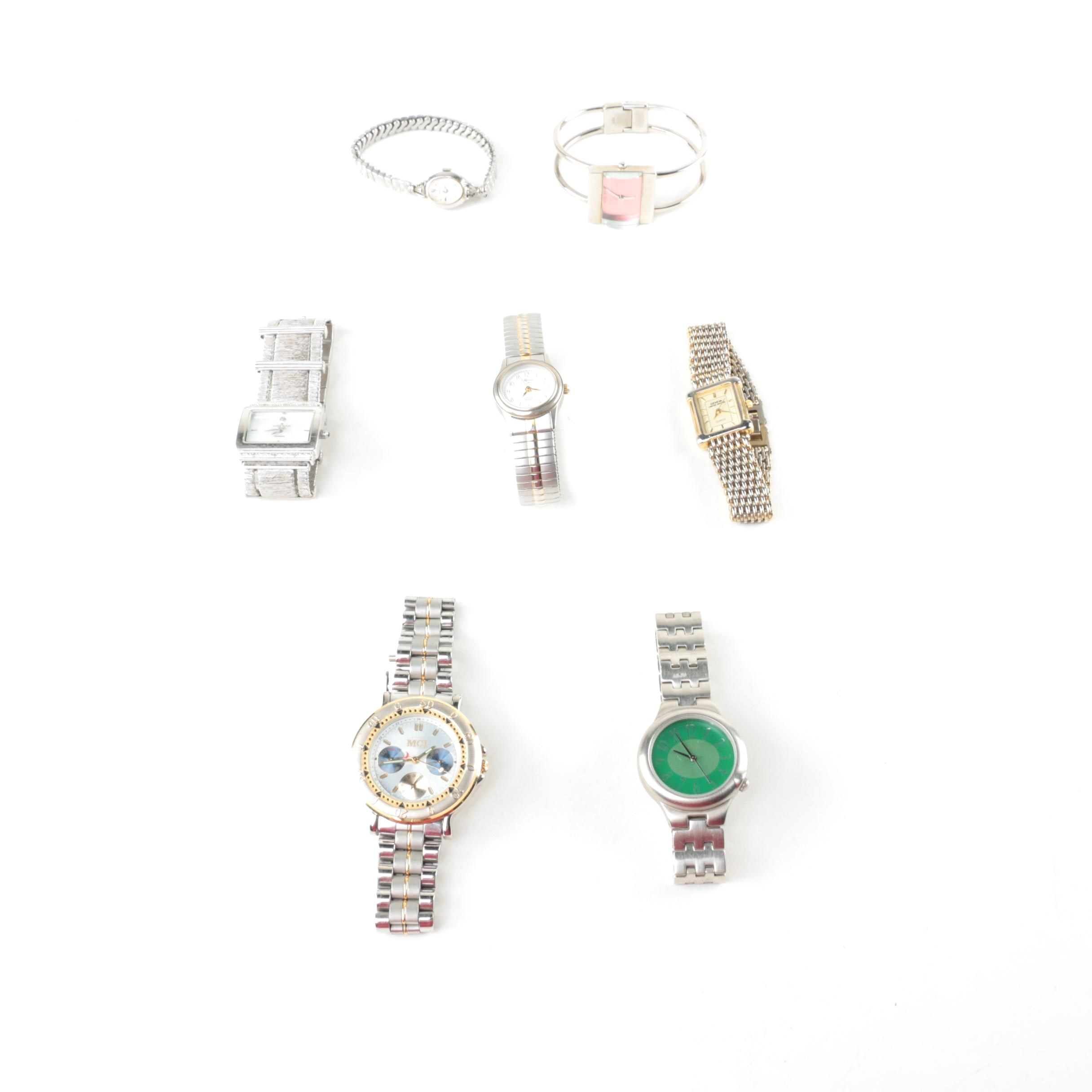 Silver Toned Watches Including Geneva, Anne Klein, and Croton