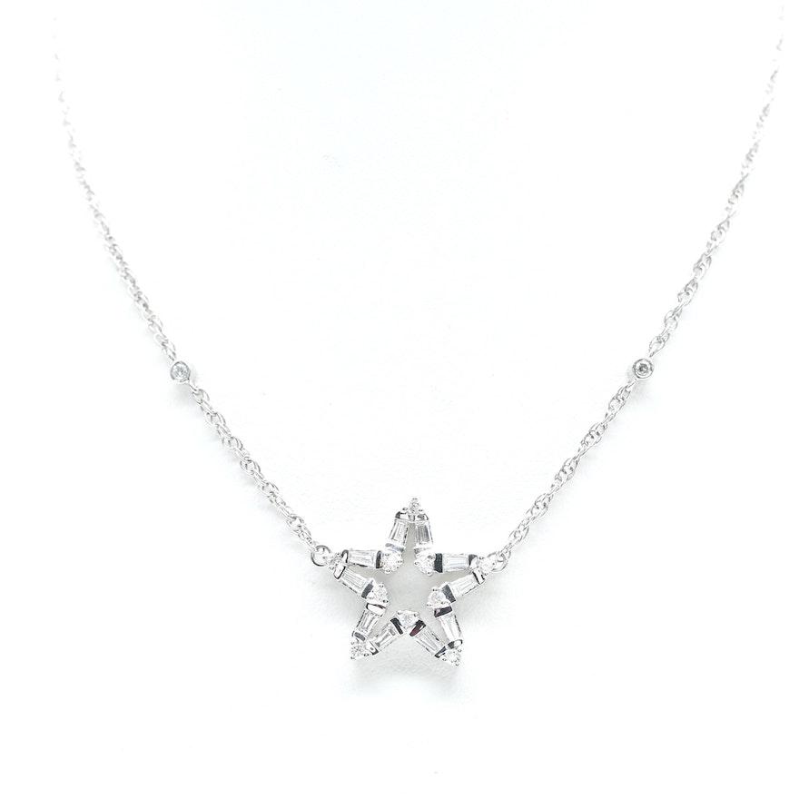 14k white gold diamond star necklace ebth 14k white gold diamond star necklace aloadofball Images
