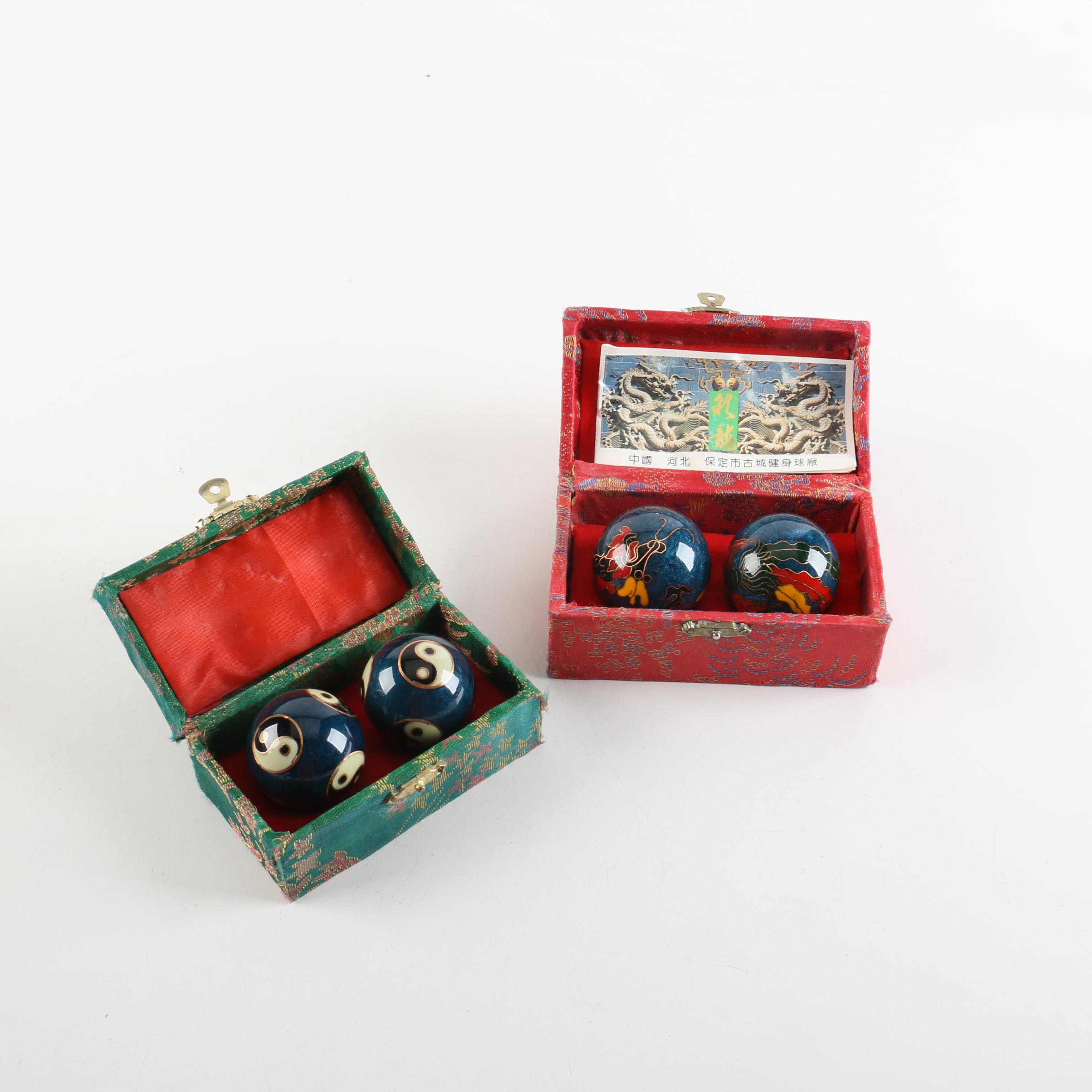 Two Pairs of Baoding Meditation Balls in Boxes