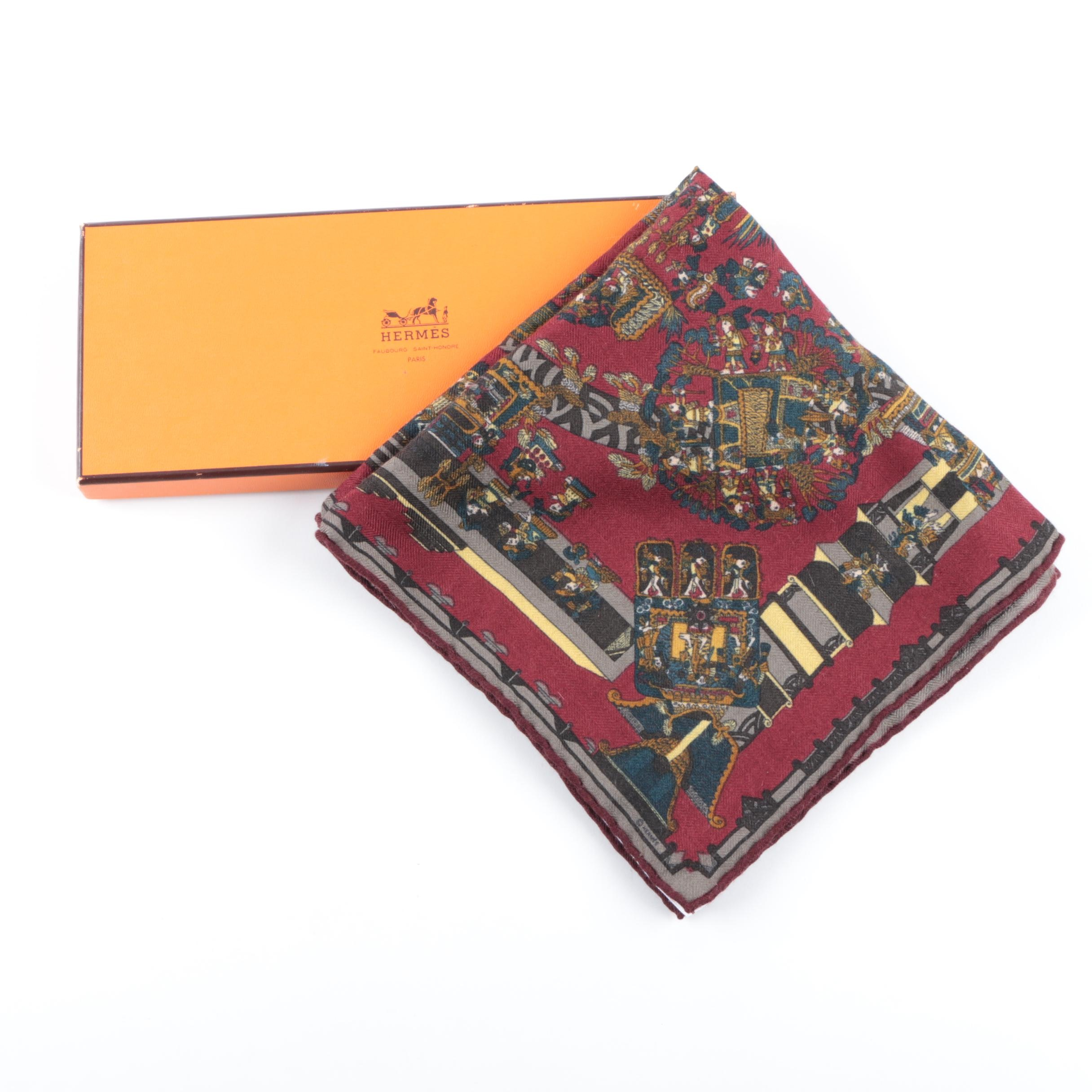 Hermès of Paris Cashmere and Silk Woven Pocket Square with Box