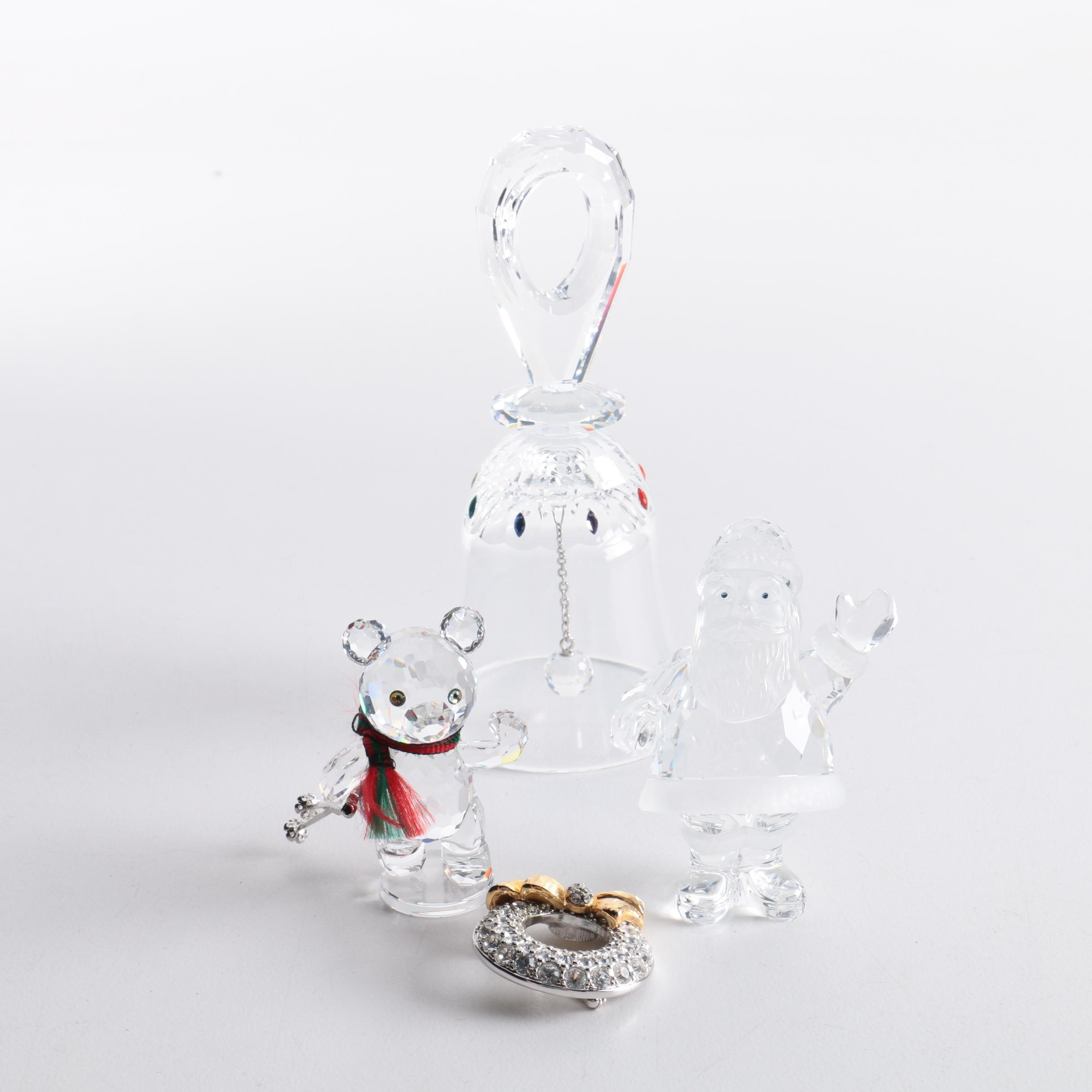 Swarovski Crystal Winter Figurines, Bell and Brooch