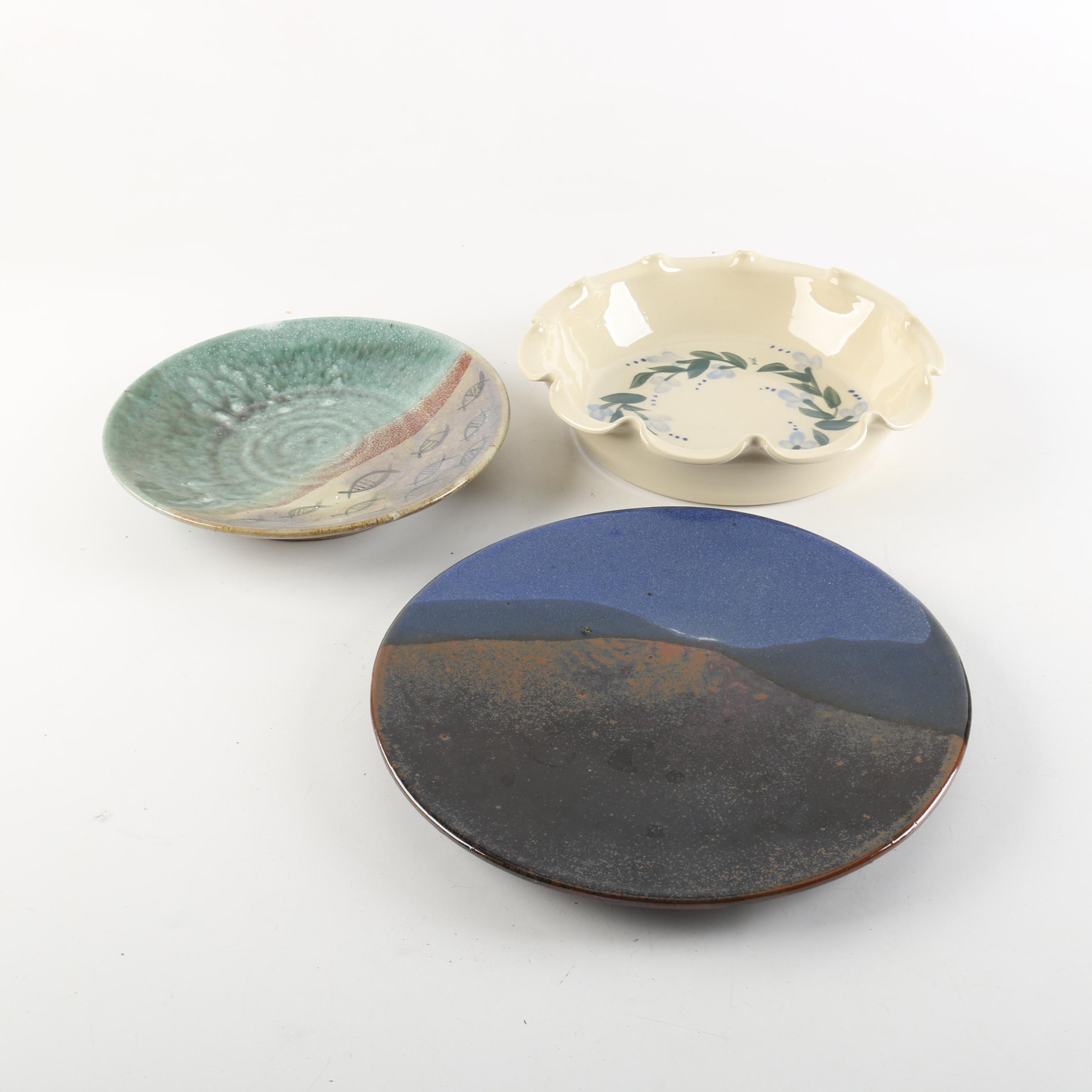 Handthrown Art Pottery Plates and Bowl