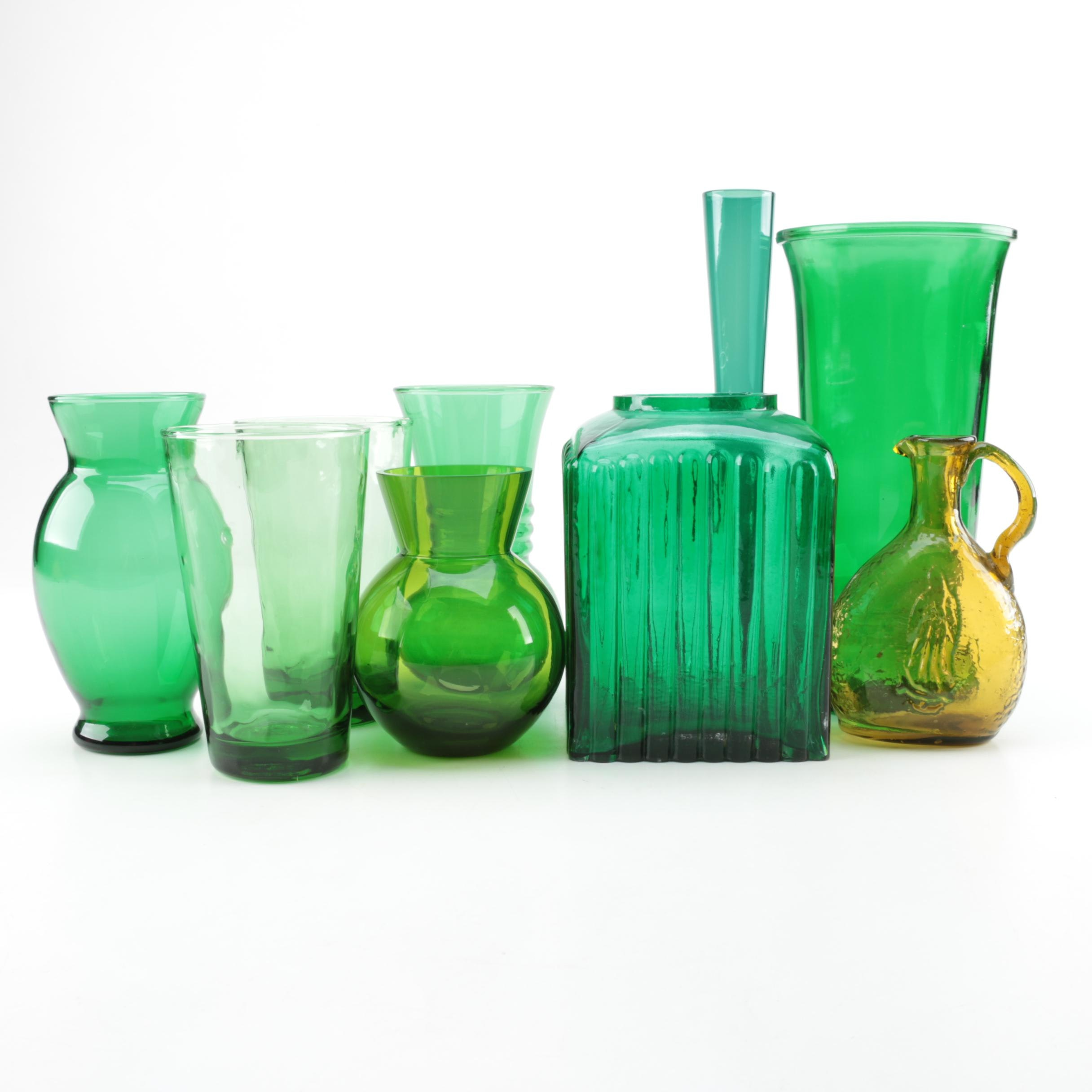 Green Glassware and Vases Including Libbey