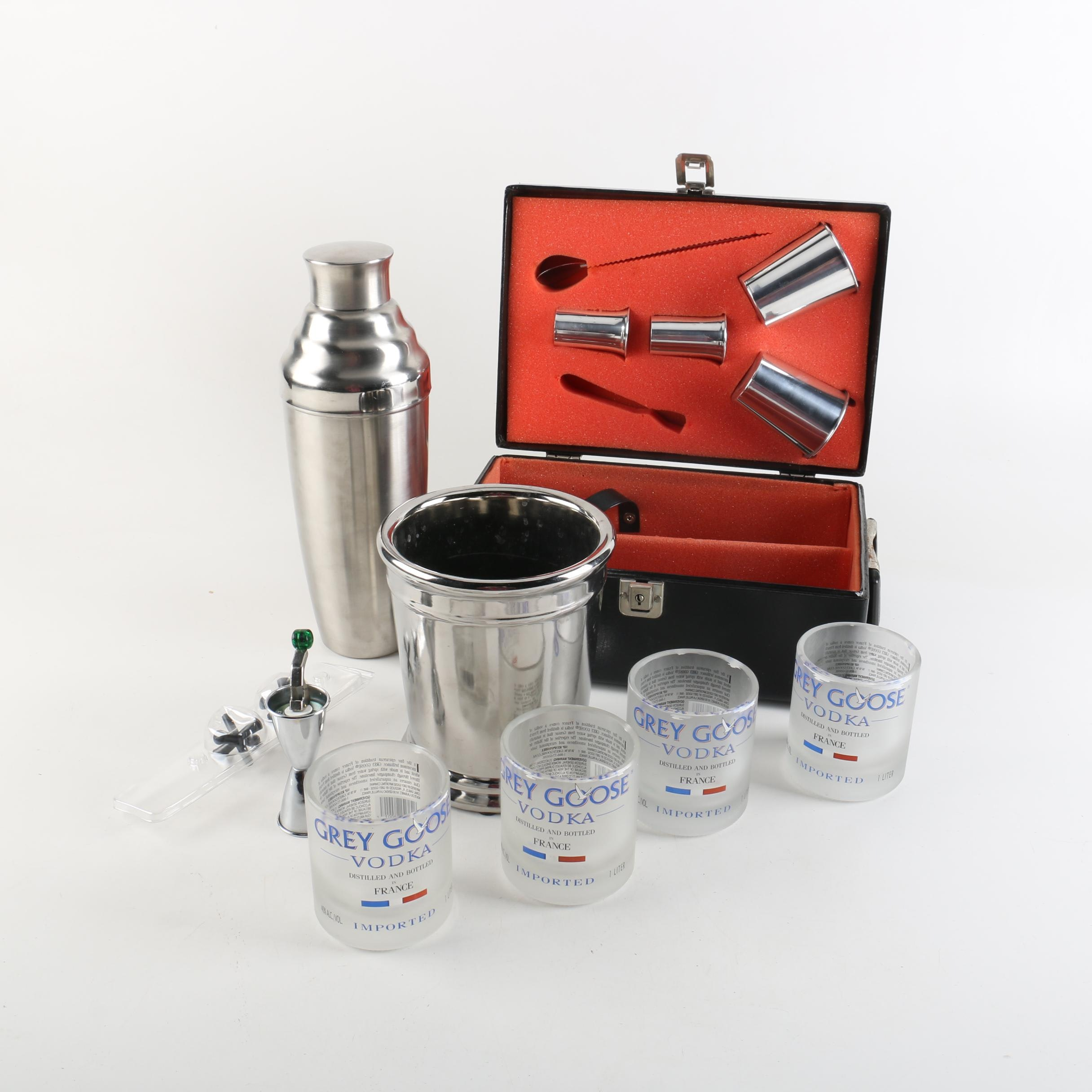 Stainless Steel Barware, Shaker and Gray Goose Glasses