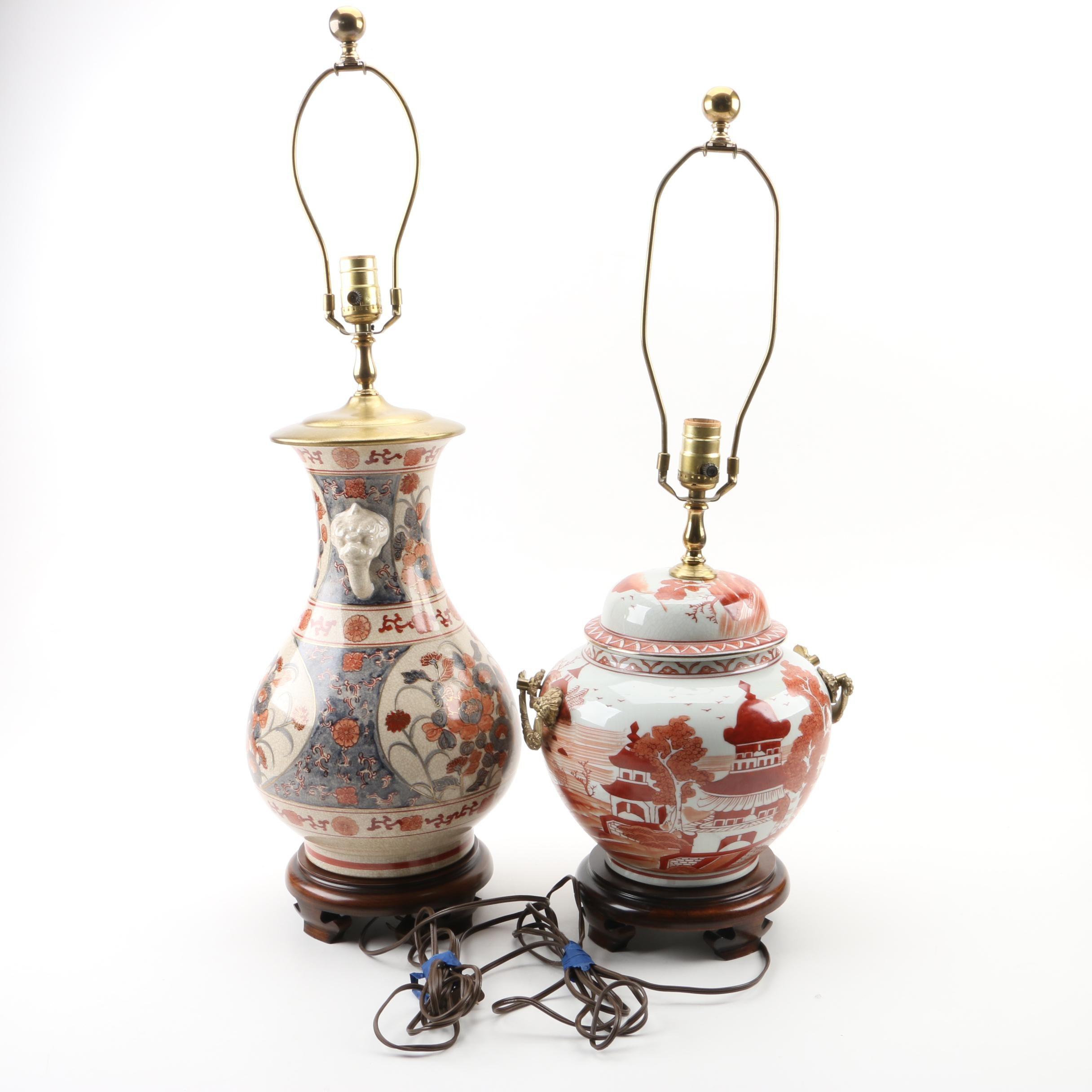 East Asian Ceramic Vase Lamps