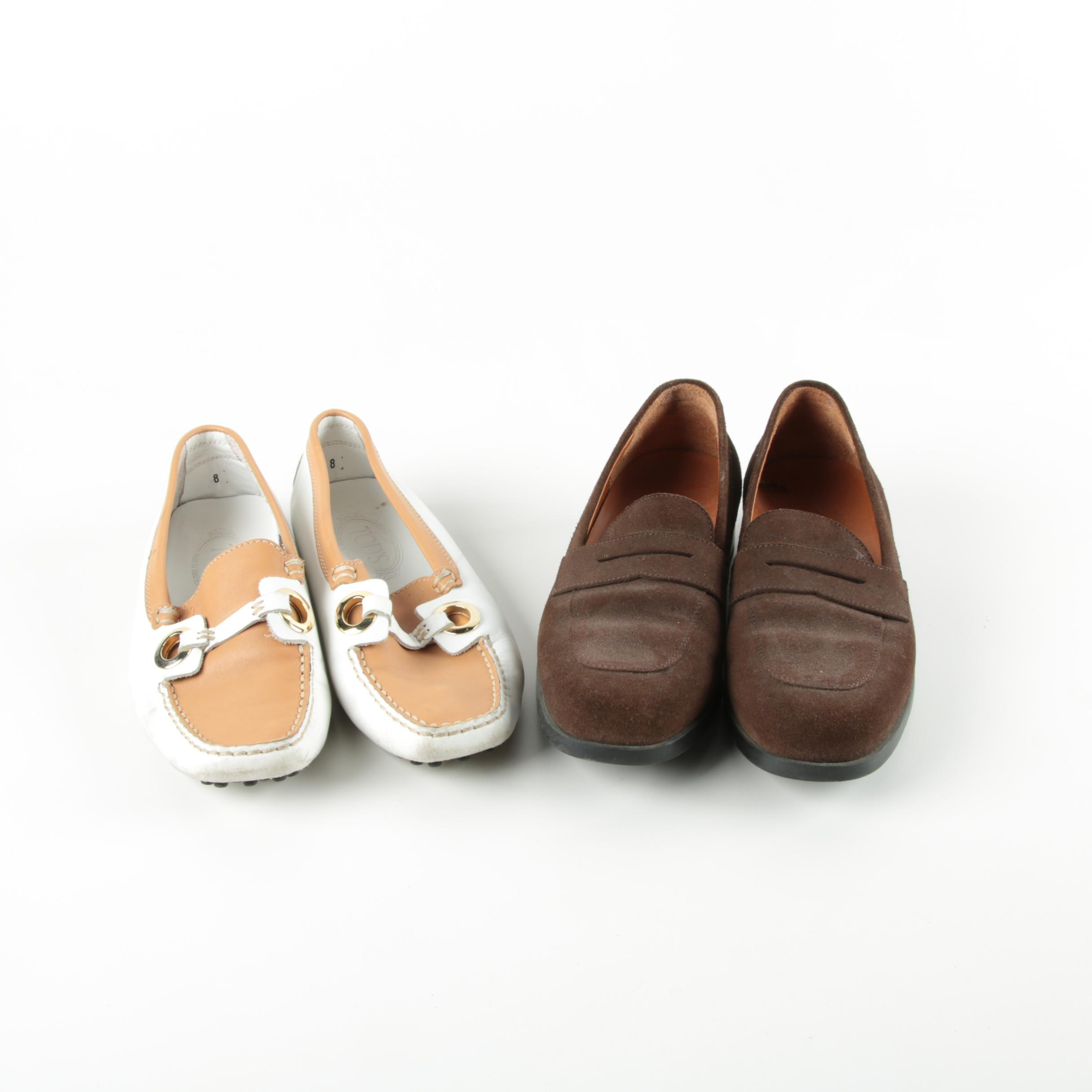 Women's Tod's Leather and Suede Loafers