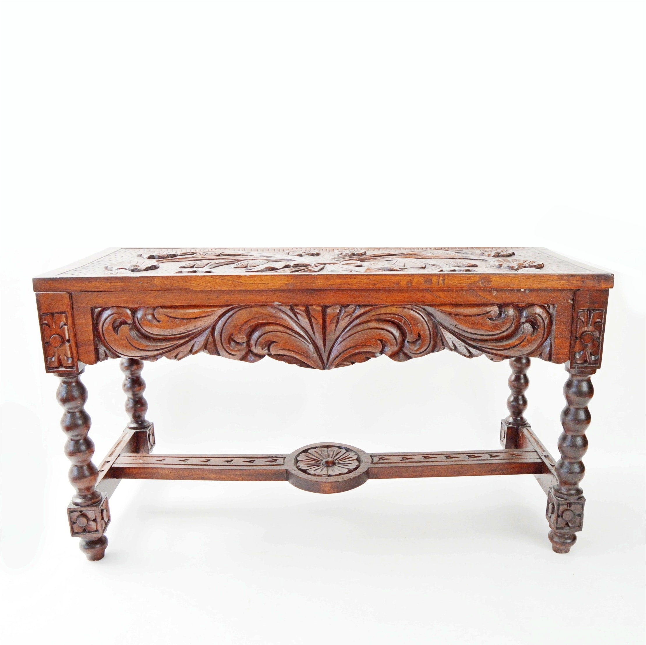Antique Romanesque Revival Style Hand Carved Walnut Bench