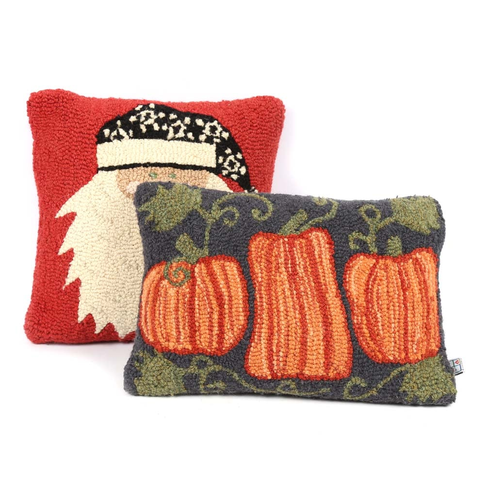 Chandler Corners Hooked Holiday Themed Pillows