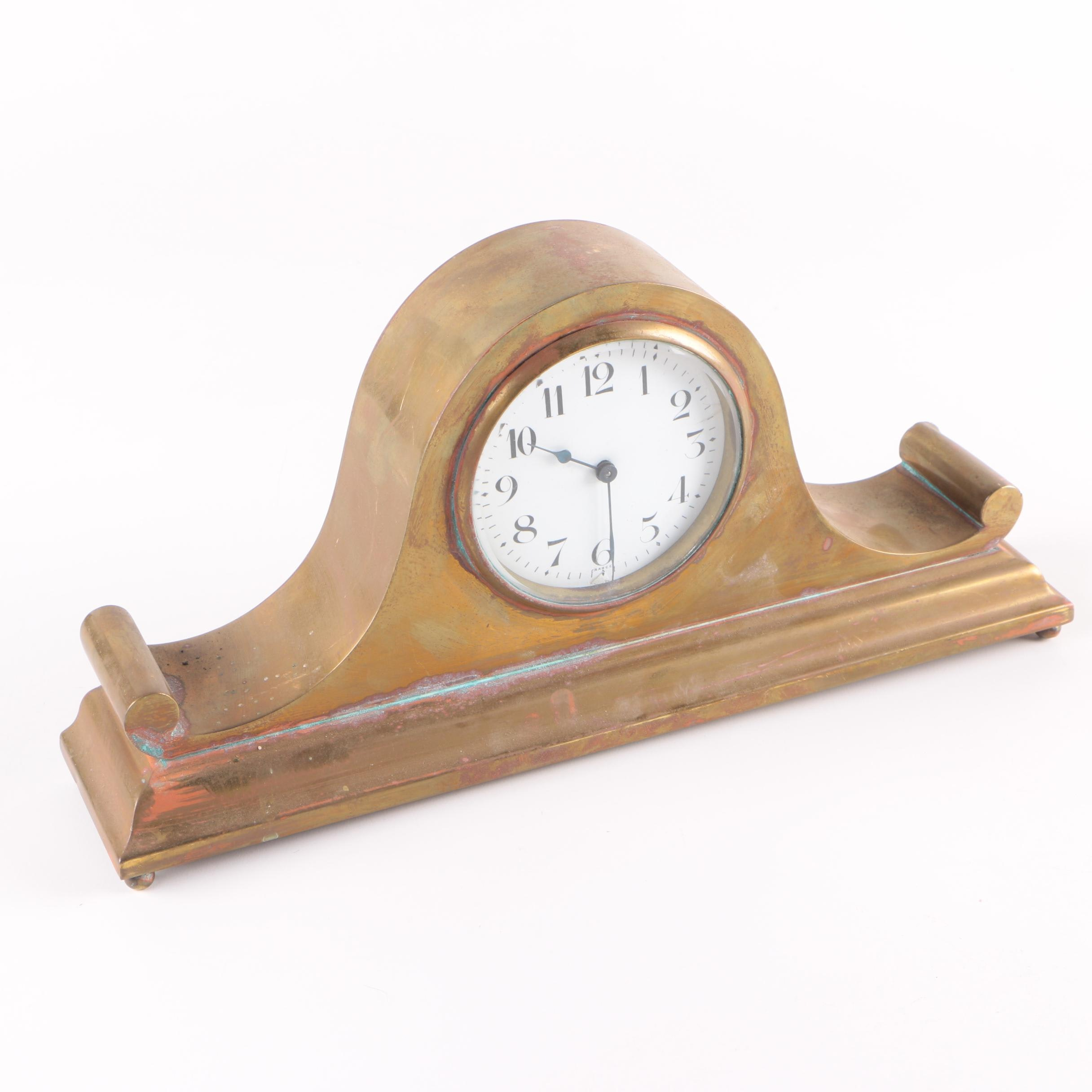 Antique French Brass Tambour Style Mantel Clock