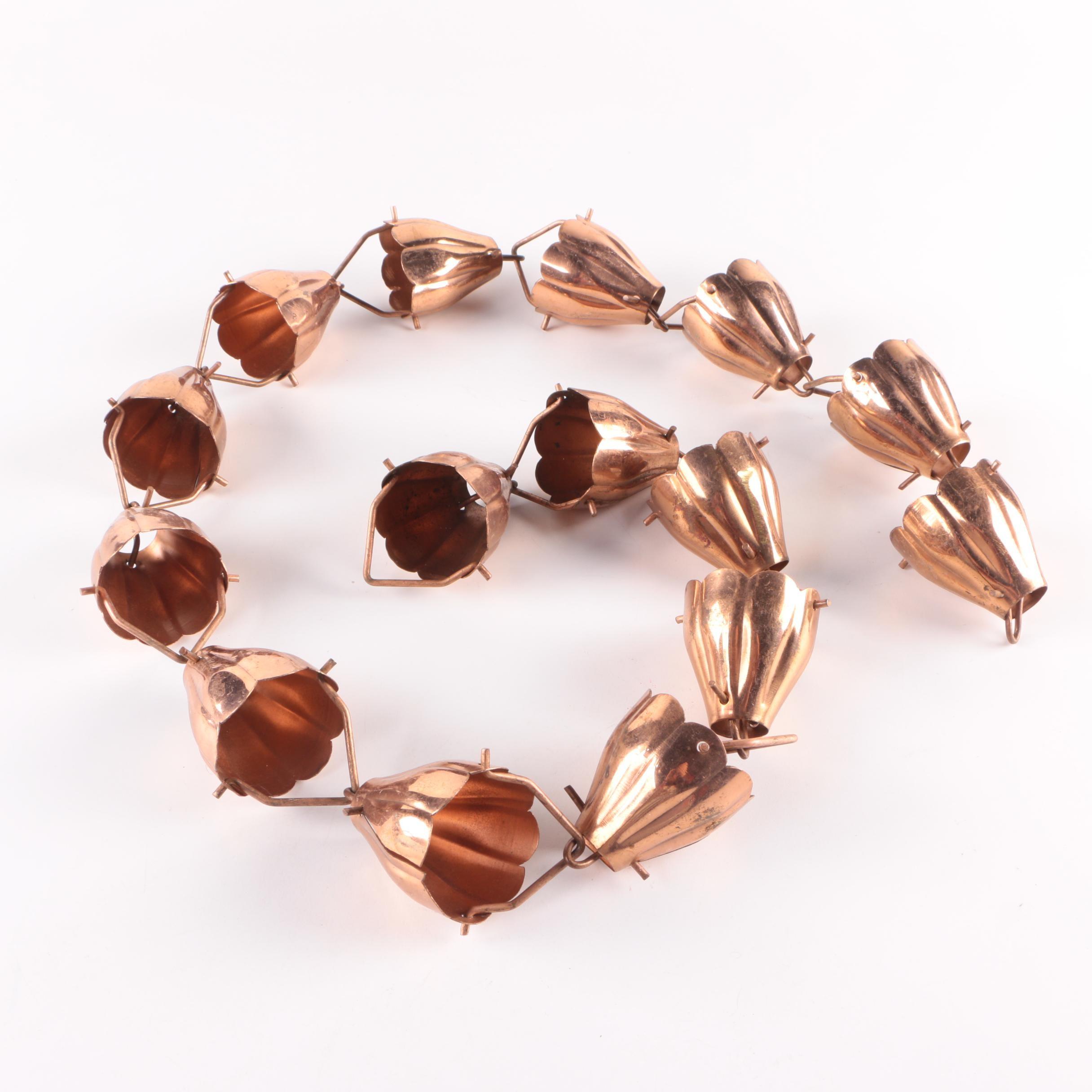 Copper Floral Motif Rain Chain