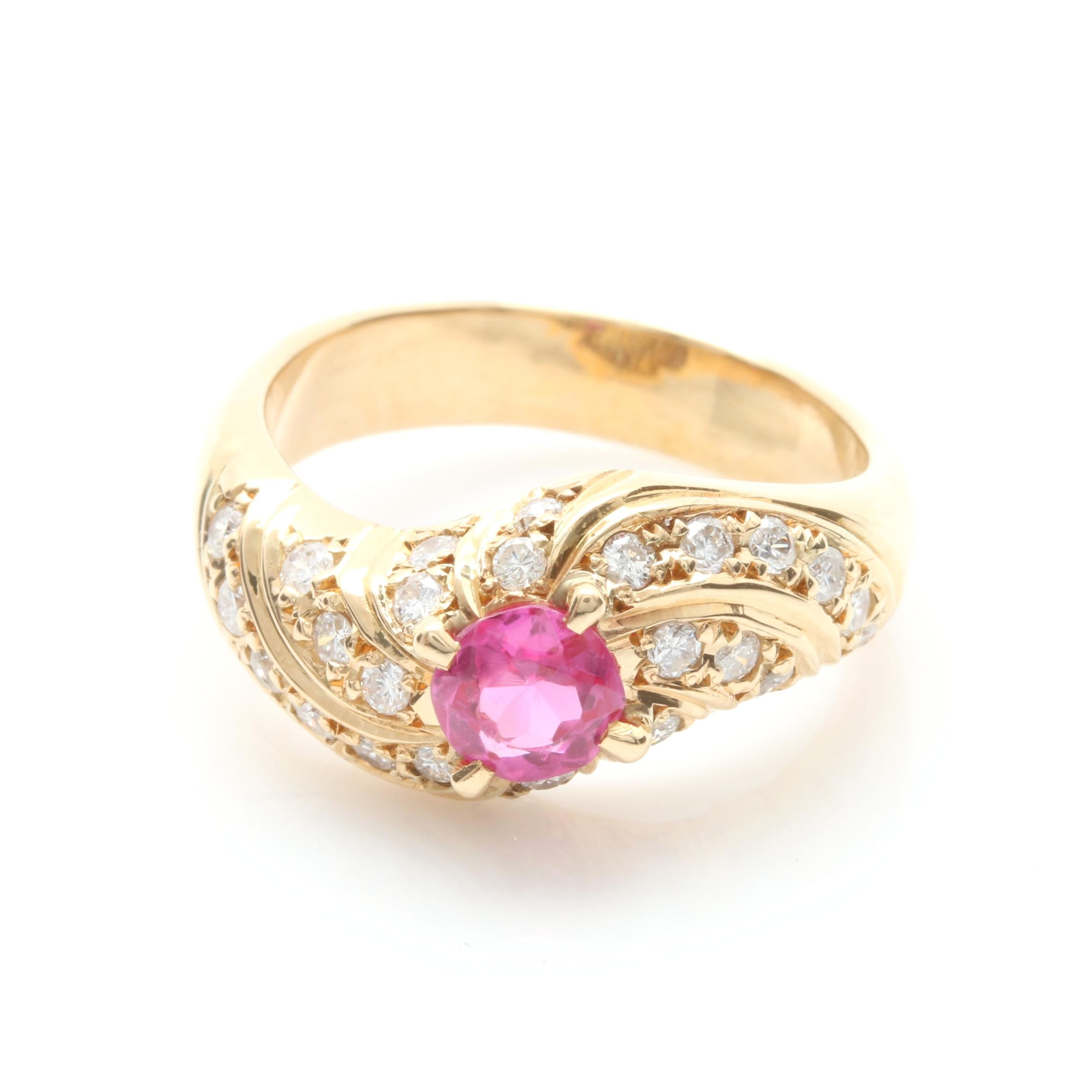 18K Yellow Gold Diamond and Synthetic Ruby Ring