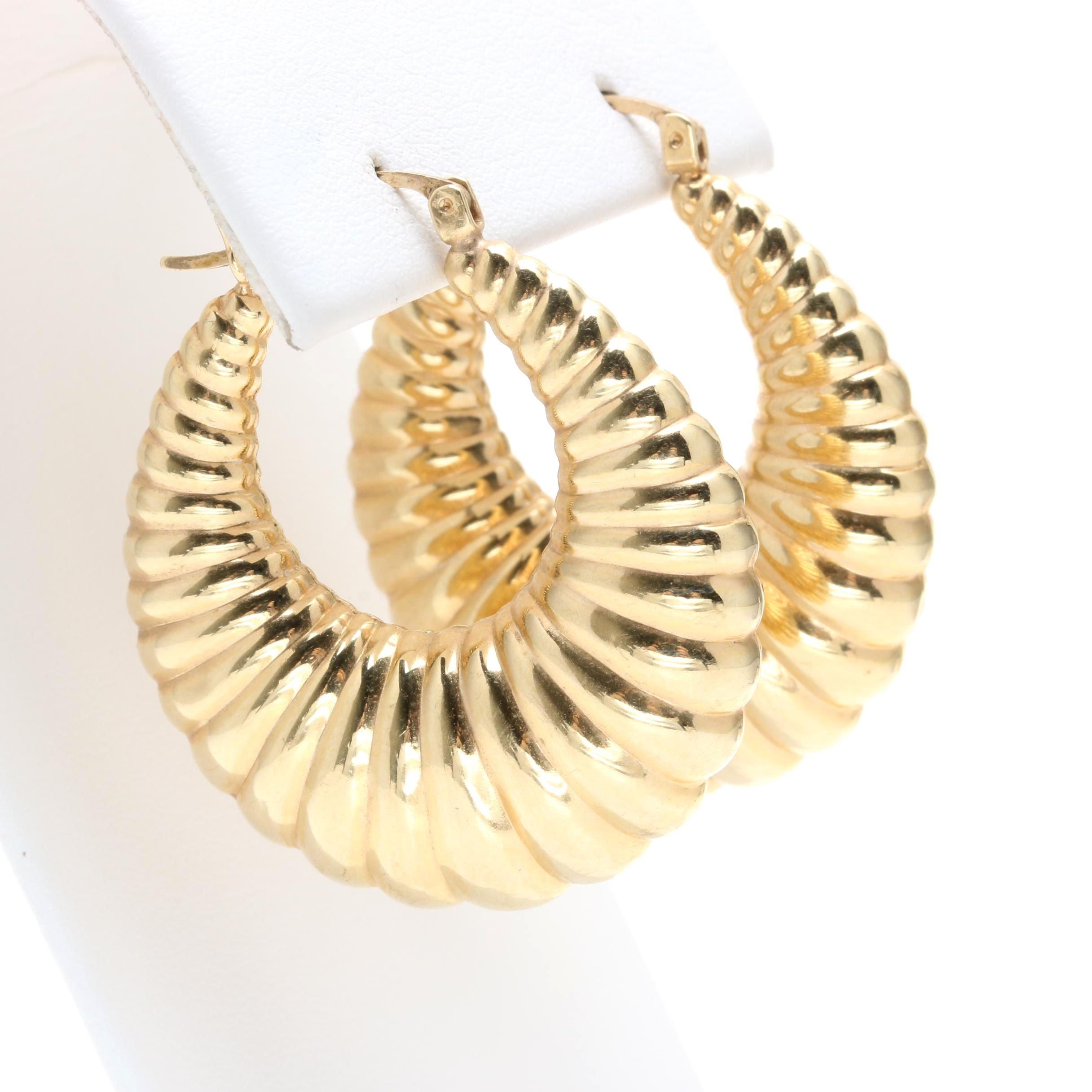 10K Yellow Gold Shrimp Hoop Earrings