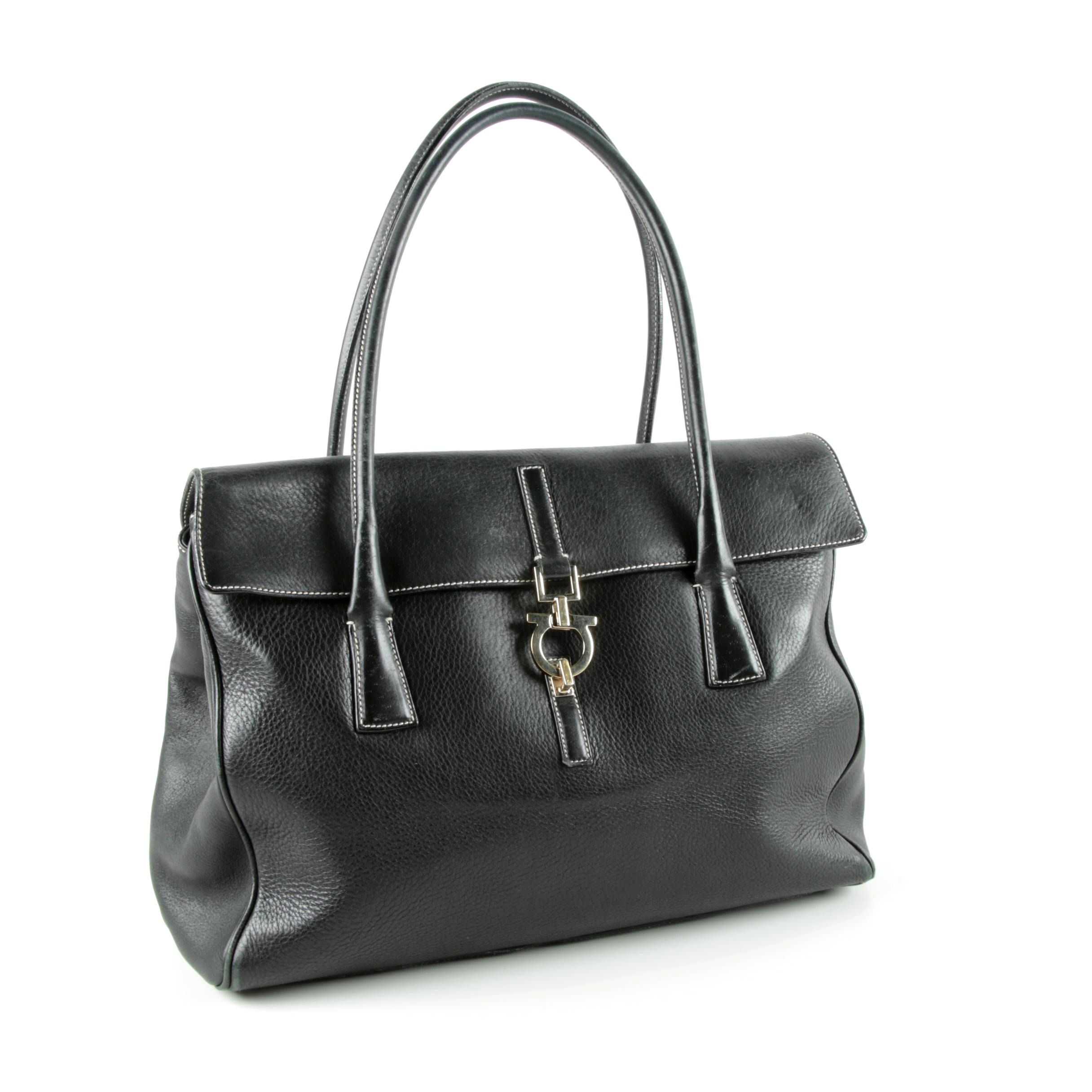 Salvatore Ferragamo Black Leather Gancini Handbag
