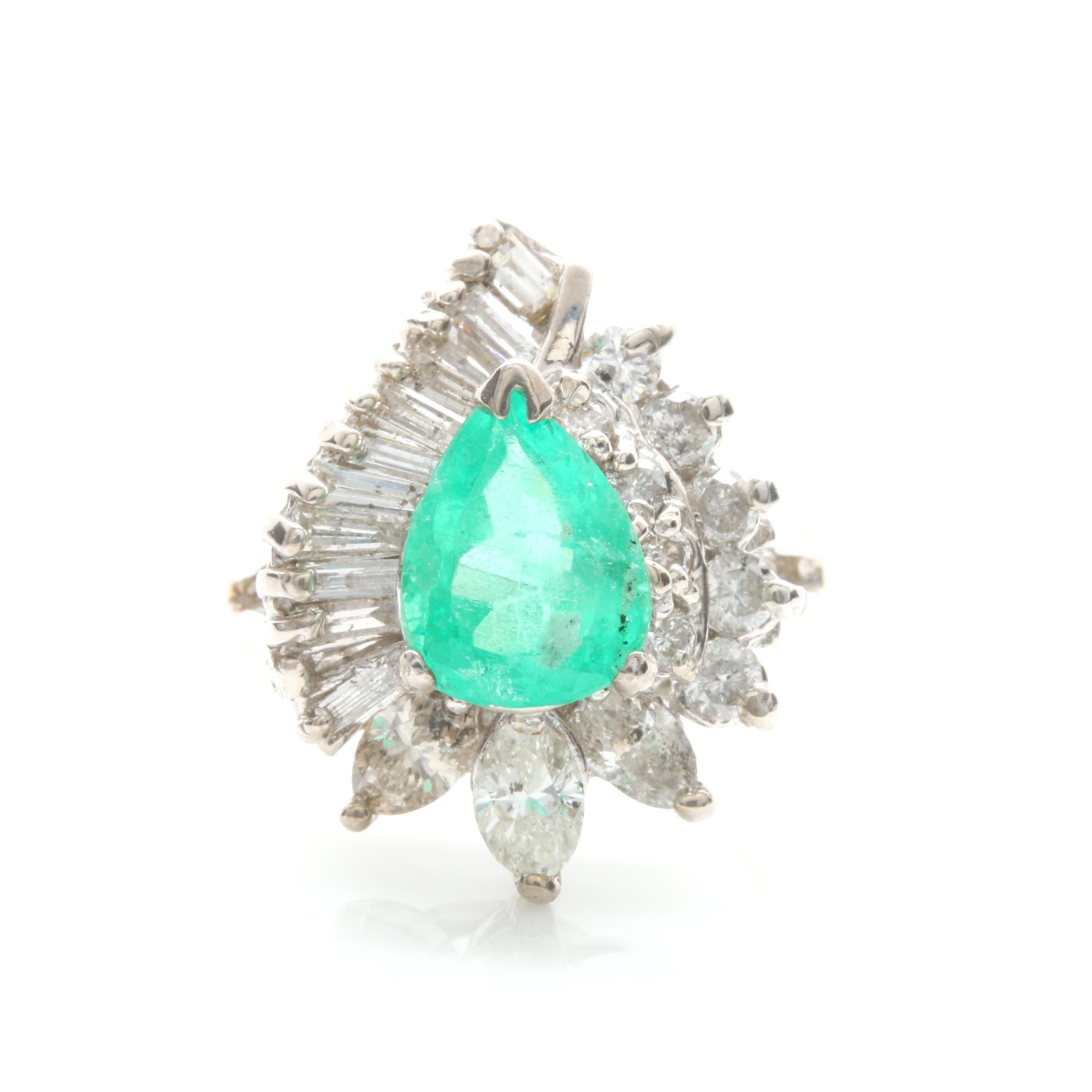 14K White Gold 1.15 CT Emerald and 1.31 CTW Diamond Ring