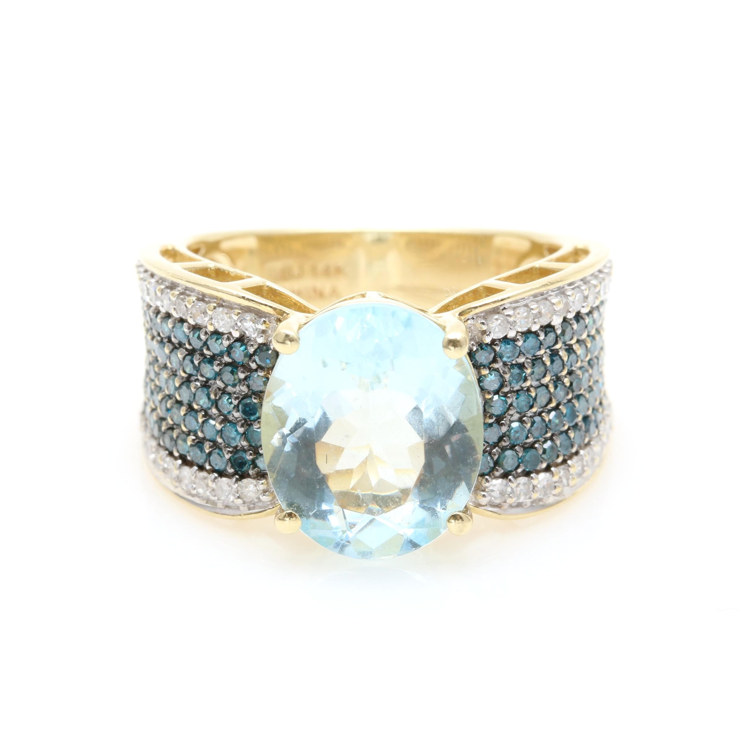 14K Yellow Gold 3.88 CT Aquamarine and 1.03 CTW Diamond Ring