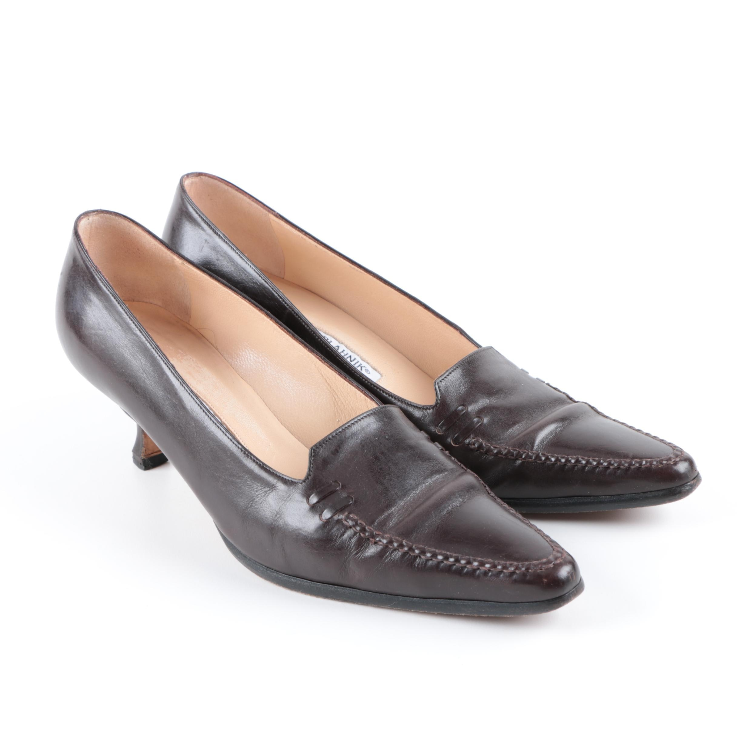 Women's Manolo Blahnik Brown Leather Kitten Heels