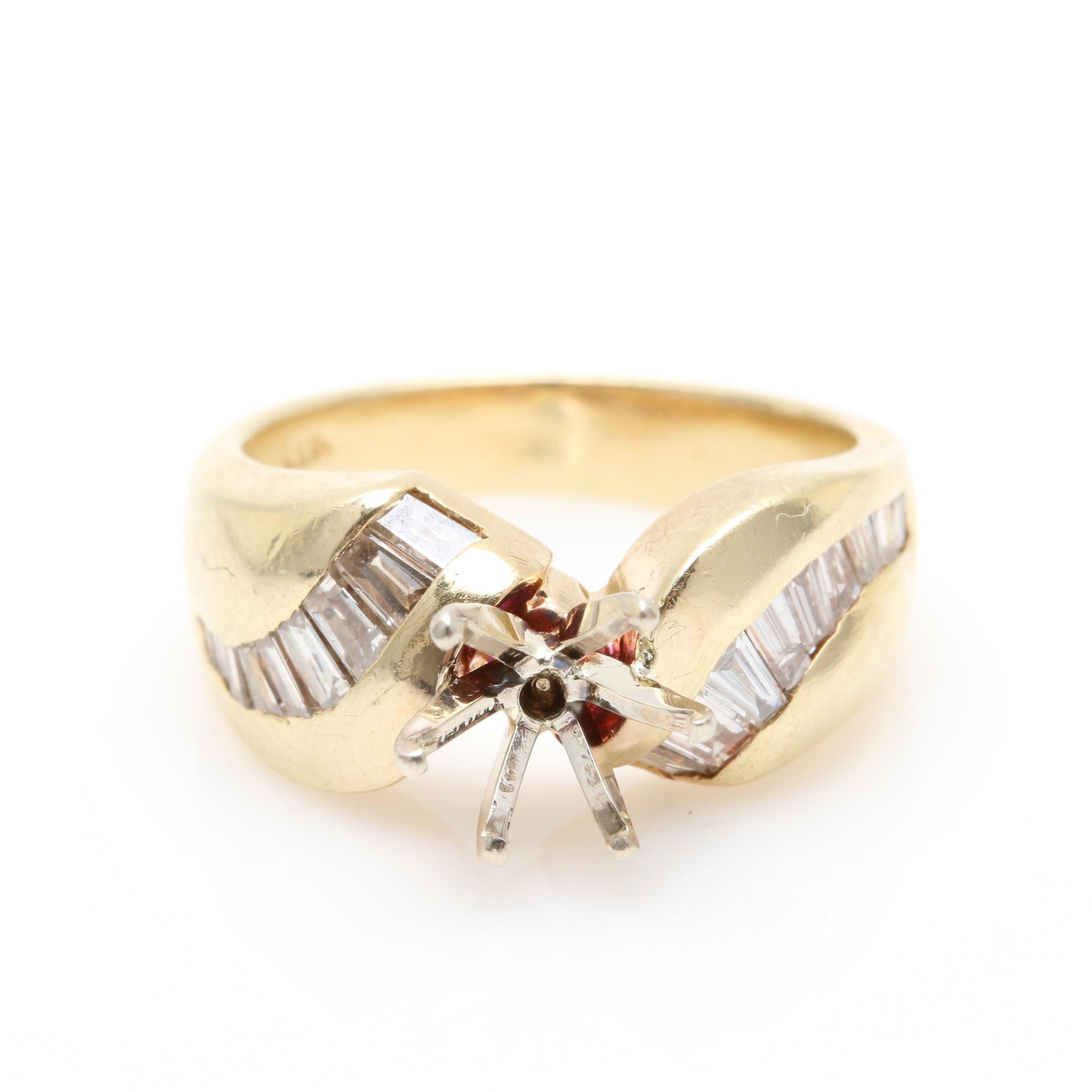 14K Yellow Gold Diamond Semi Ring Mount