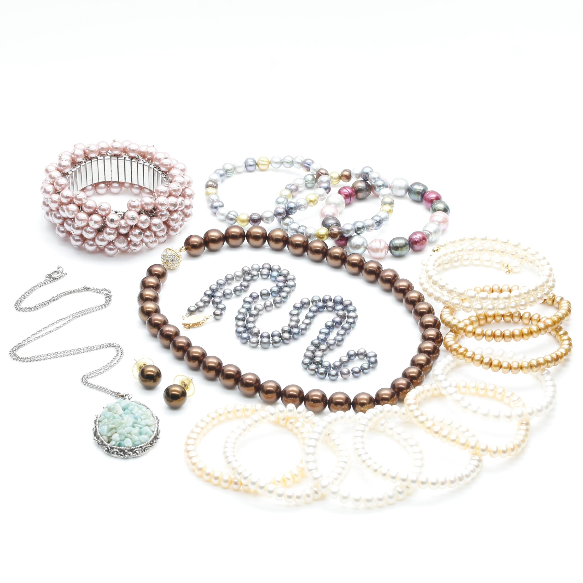 Assortment of Multi Colored Cultured Pearl and Aquamarine Jewelry