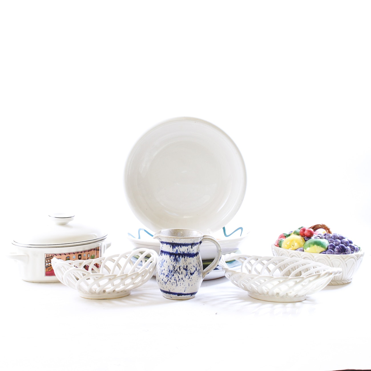 Pottery and Ceramic Serveware, Including Dansk, Villeroy and Boch, and Caleca