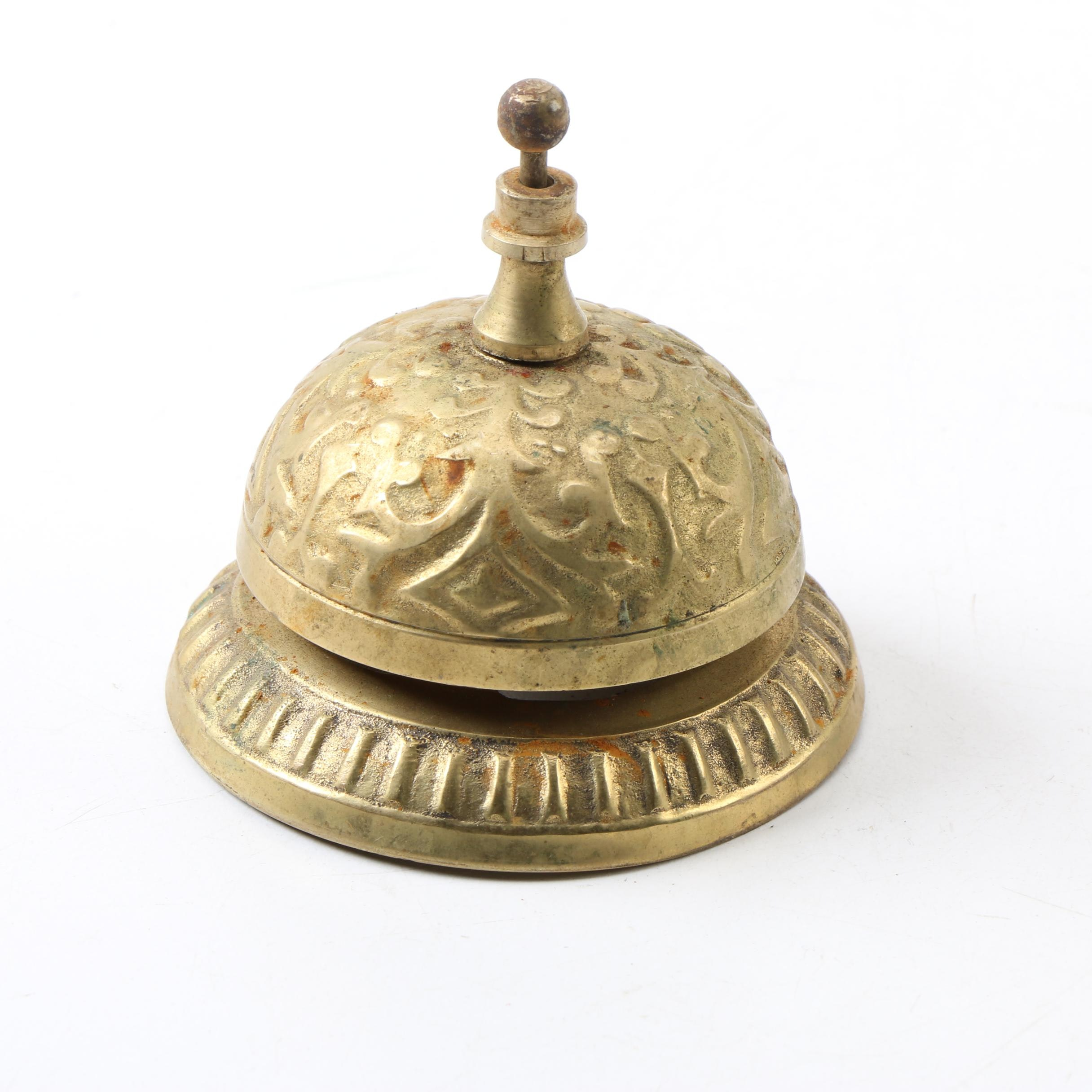 Vintage Embossed Metal Hotel Front Desk Counter Call Bell