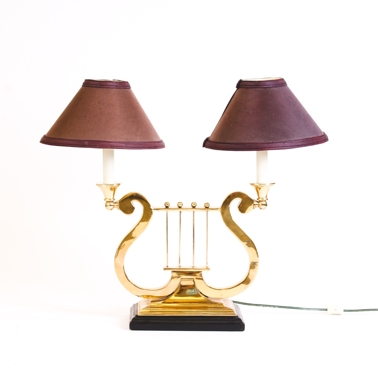Brass Lyre Shaped Accent Lamp
