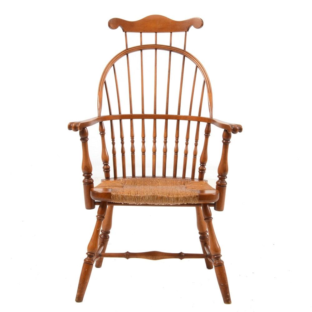 Vintage Rush Seat Windsor Style Armchair