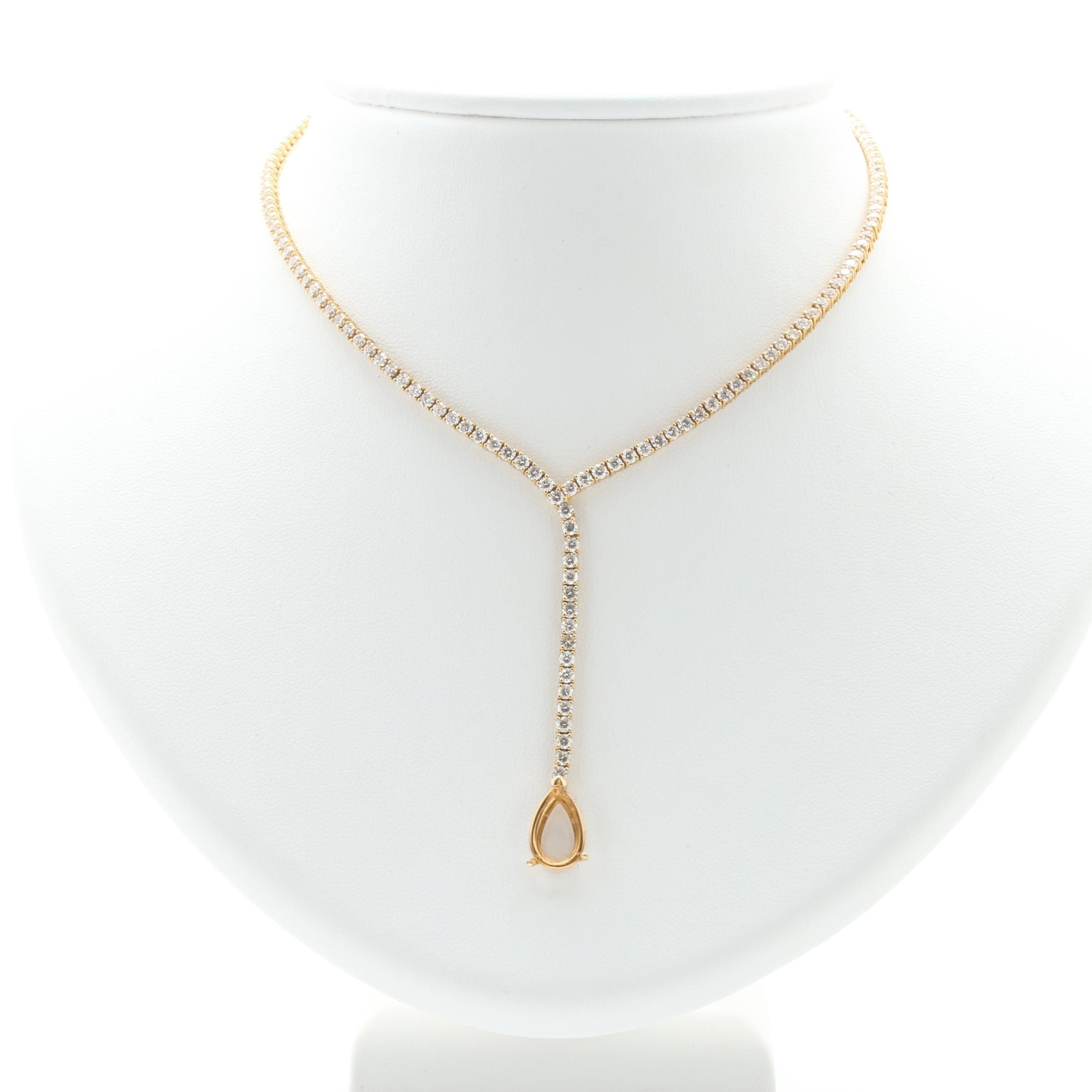 18K Yellow Gold 5.58 CTW Diamond Necklace With Open Setting
