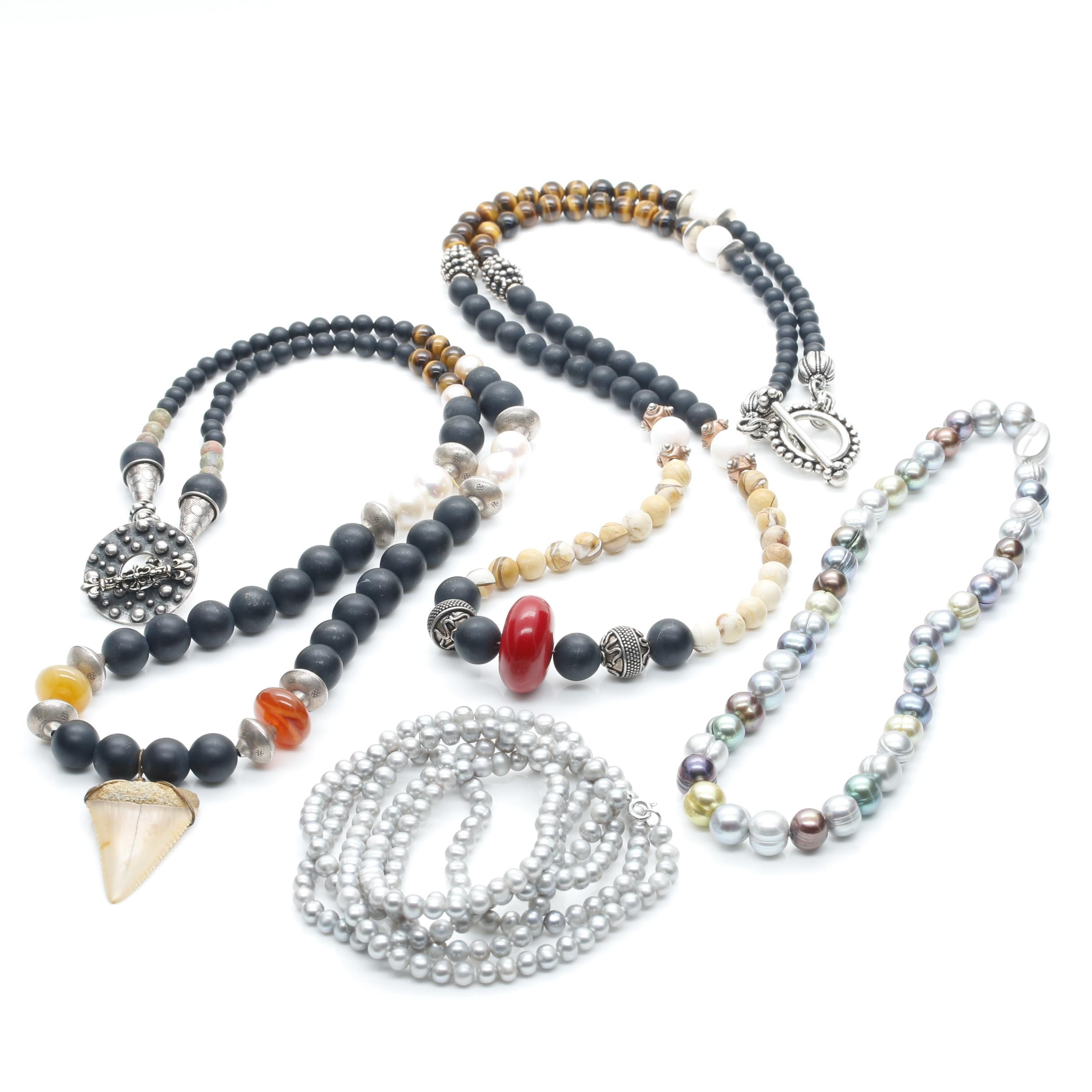 Assortment of Sterling Silver Multi Gemstone and Cultured Pearl Necklaces